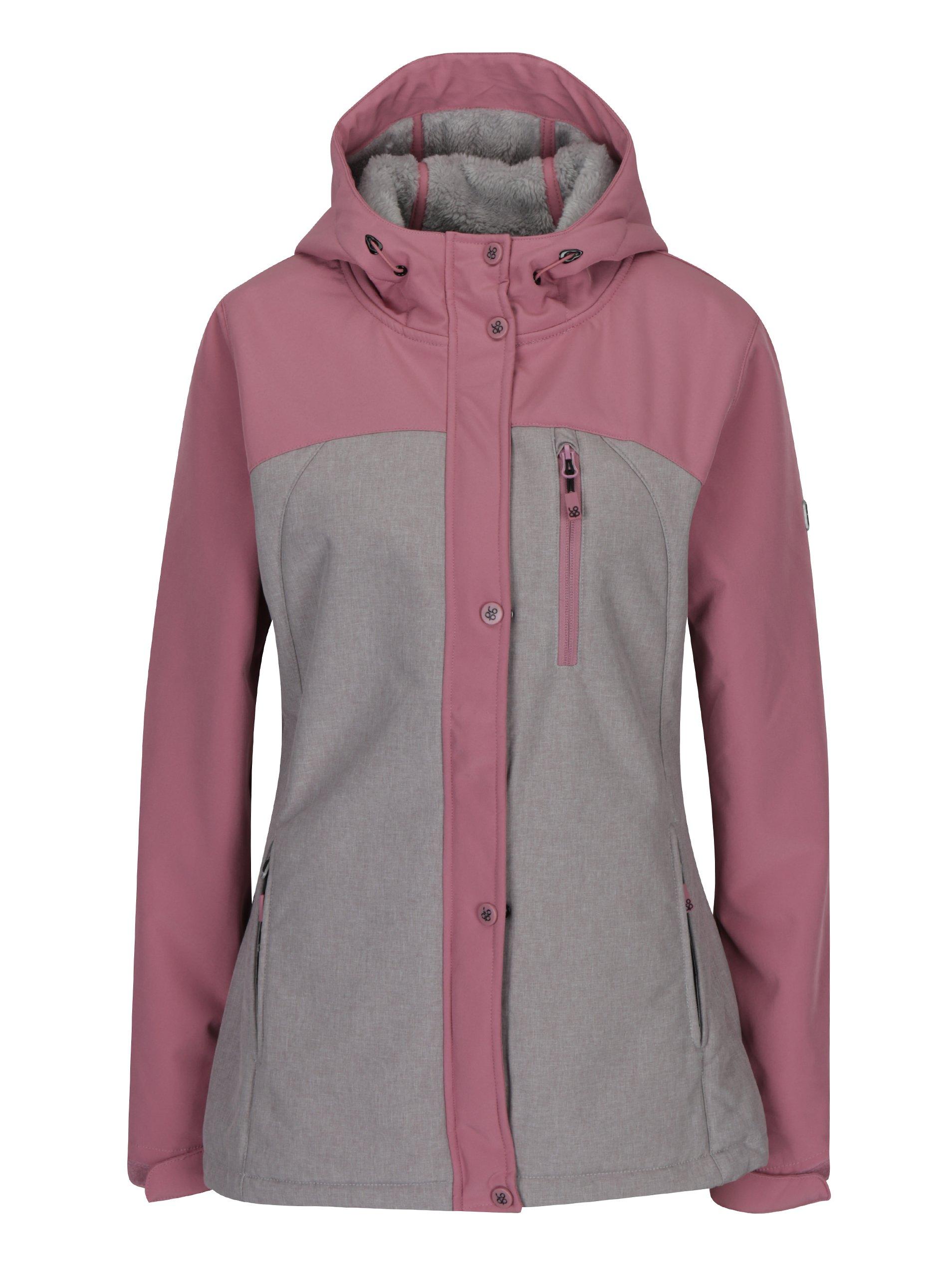 Růžovo-šedá dámská softshellová nepromokavá bunda LOAP Lusidam