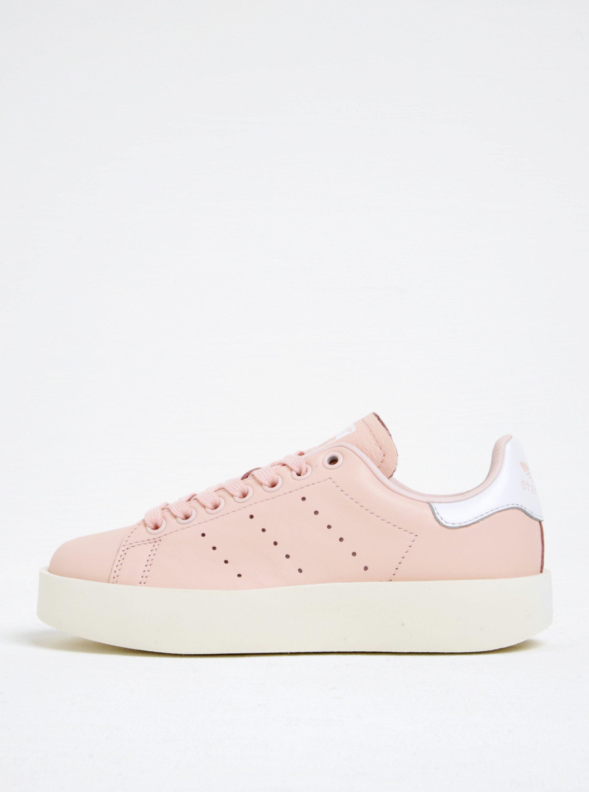 Růžové dámské kožené tenisky na platformě adidas Originals Stan Smith Bold