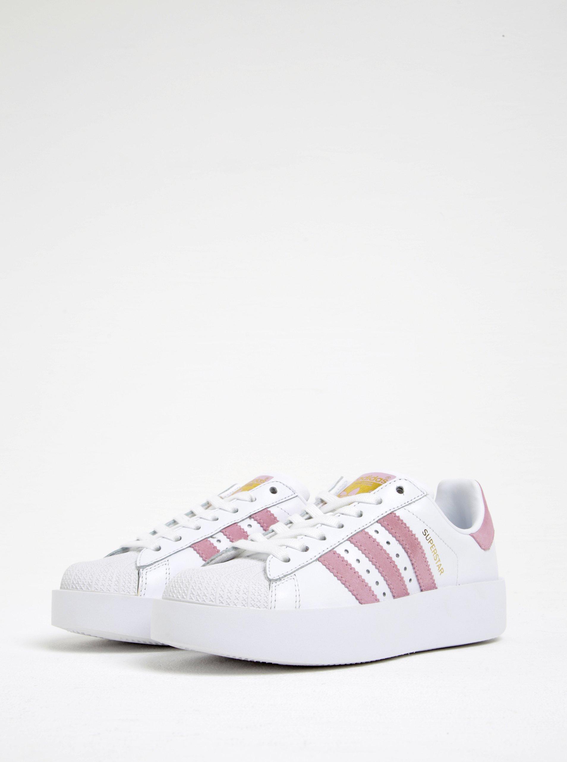 6ef291835 Bílé dámské kožené tenisky na platformě adidas Originals - Akční ...
