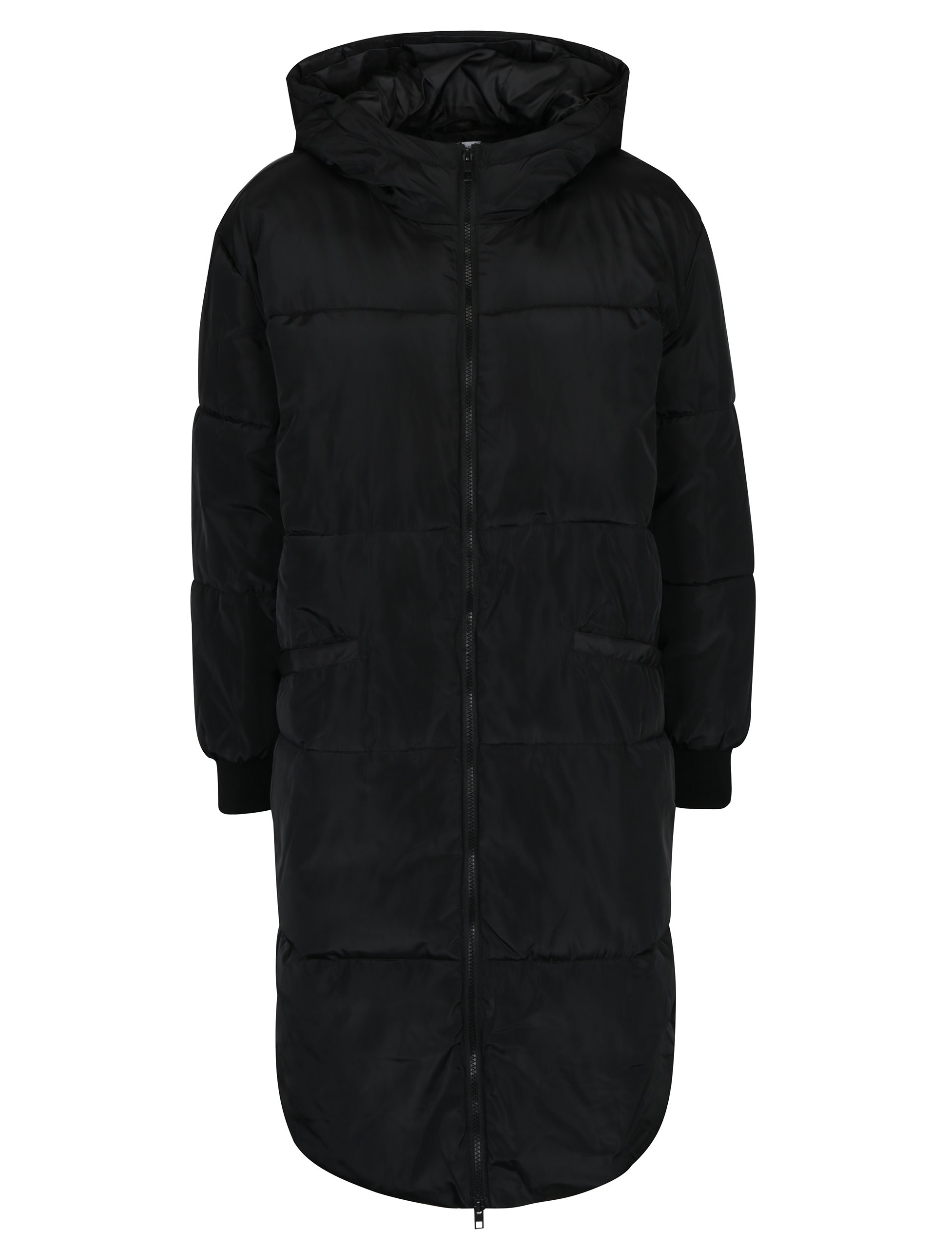 Černý prošívaný kabát s kapucí Jacqueline de Yong Rocca