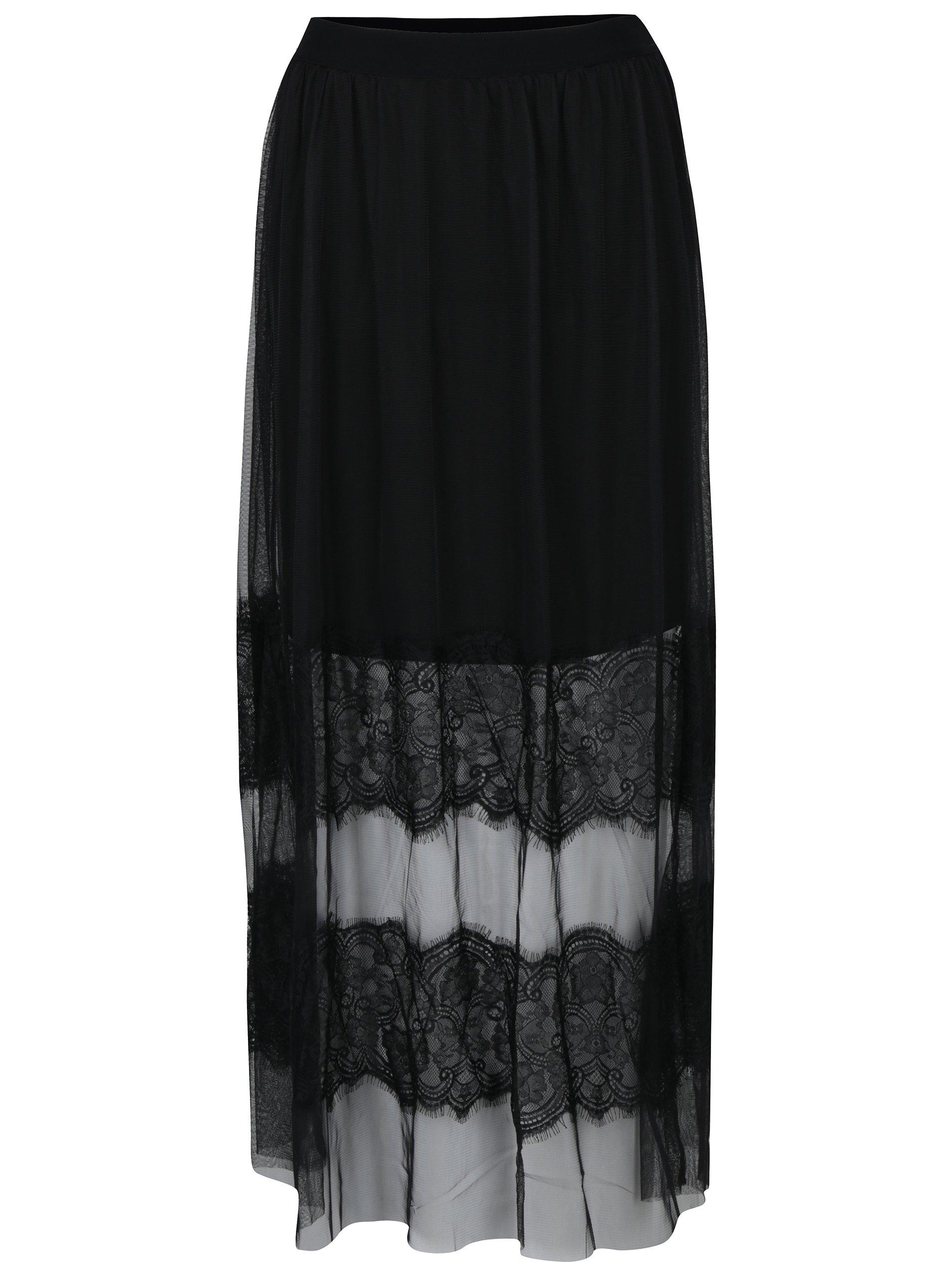 Černá tylová maxi sukně s krajkovými detaily VILA Rokas