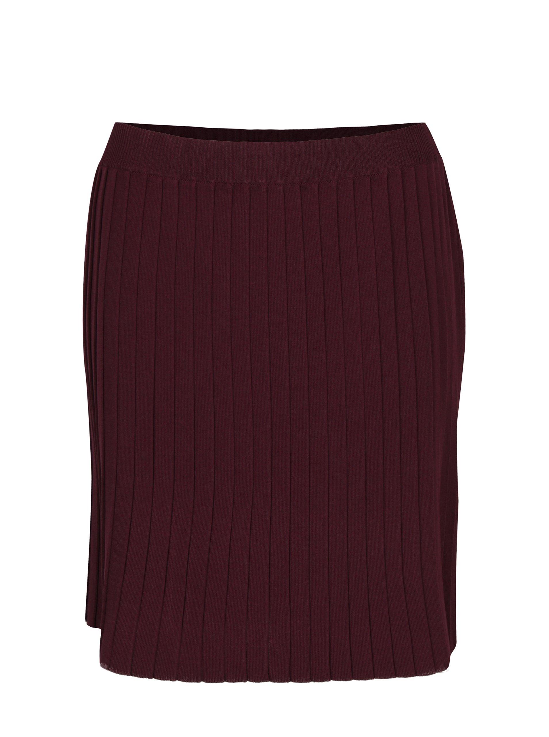 Vínová žebrovaná sukně VILA Plissani