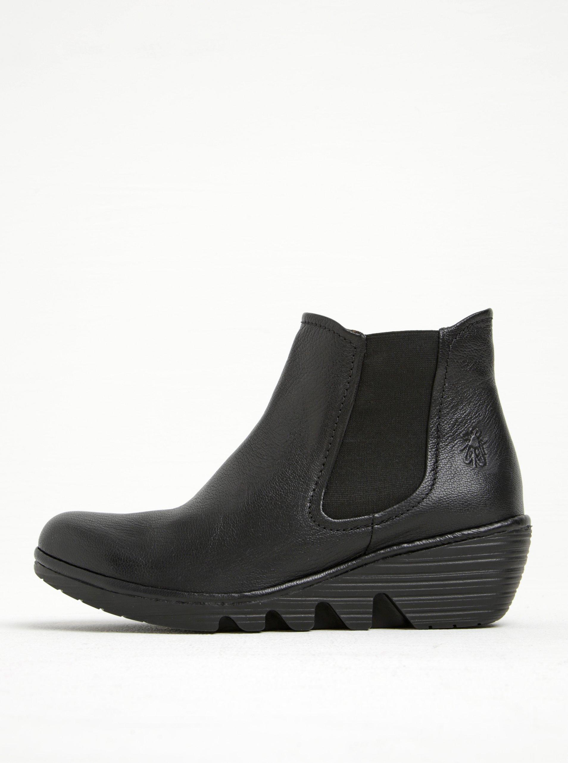 Černé dámské kožené chelsea boty na platformě FLY London