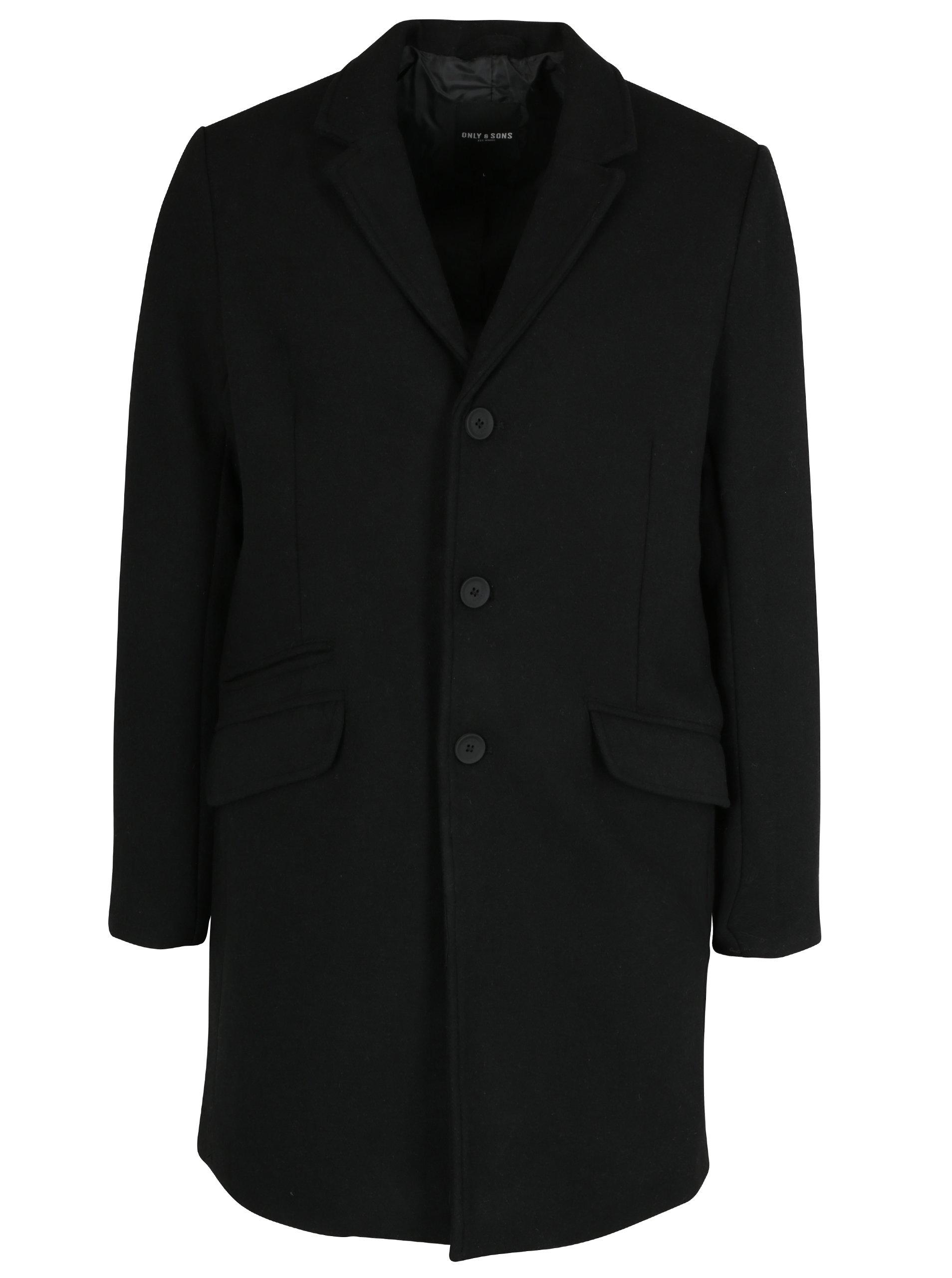 Černý vlněný kabát ONLY & SONS Julian