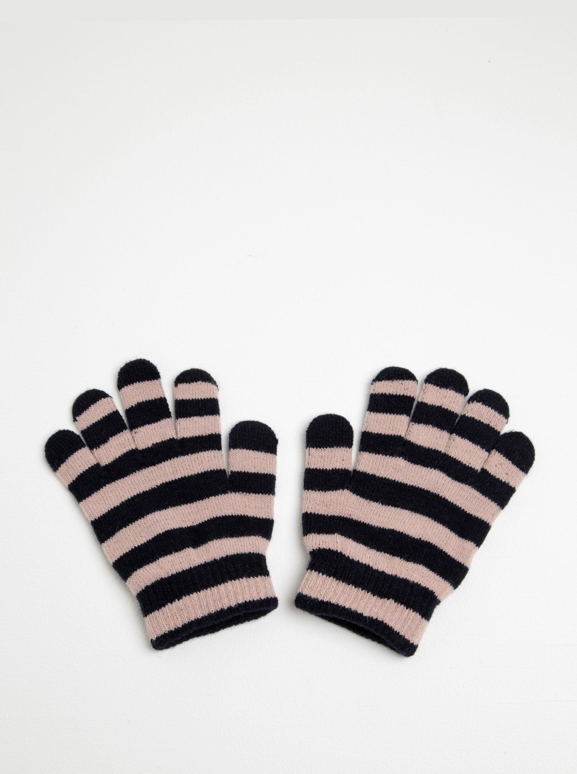Černo-růžové holčičí pruhované rukavice Name it Magic 59bee84e98