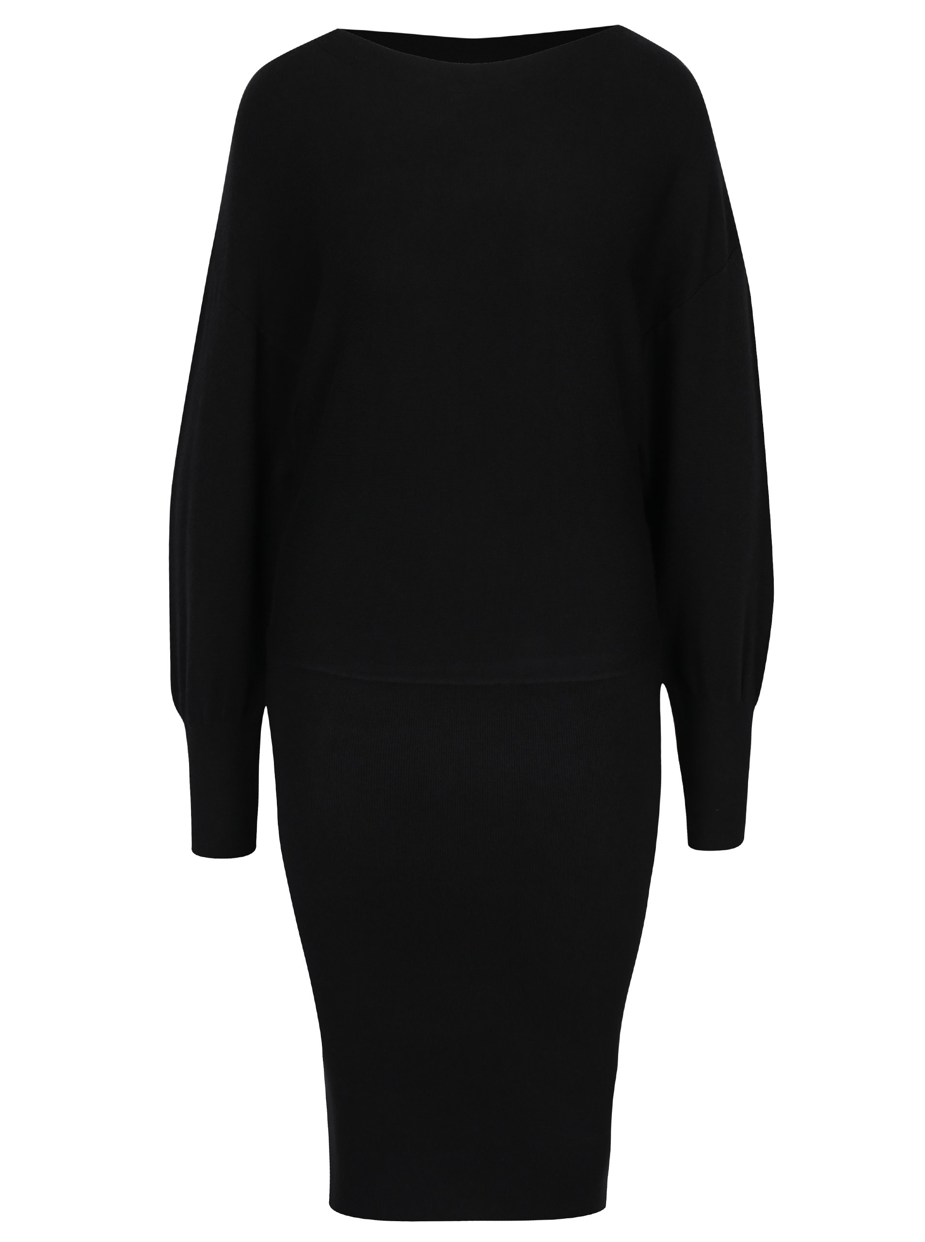 Černé svetrové šaty s dlouhým rukávem VILA Noma