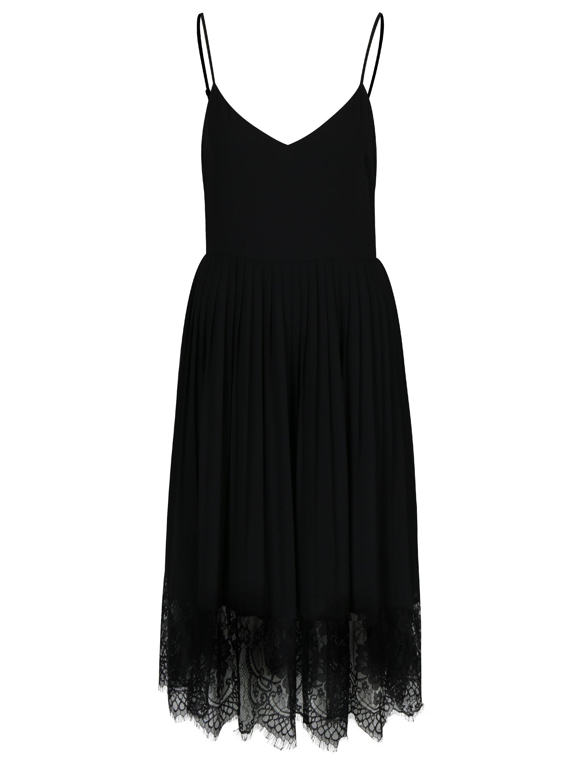 Čierne šaty s plisovanou sukňou a čipkovaným dolným lemom VILA Elisabeth