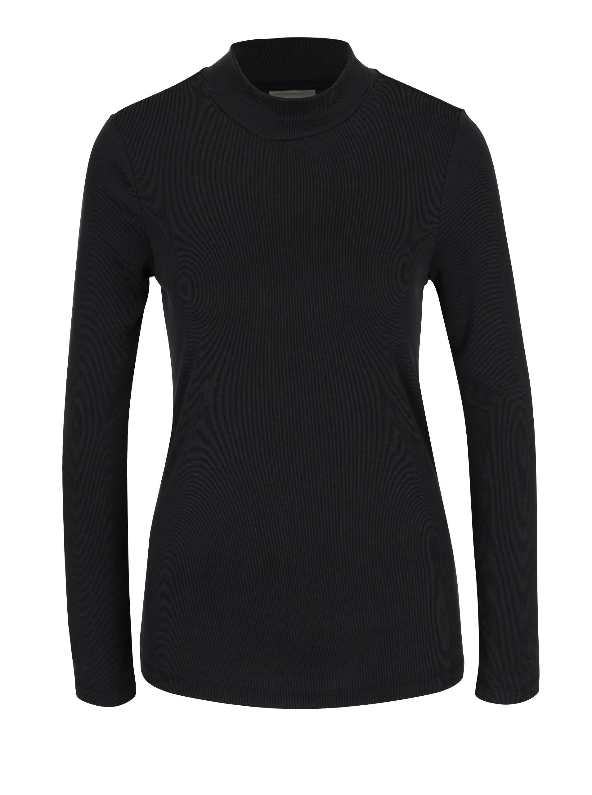 Černé žebrované tričko se stojáčkem Selected Femme Aria
