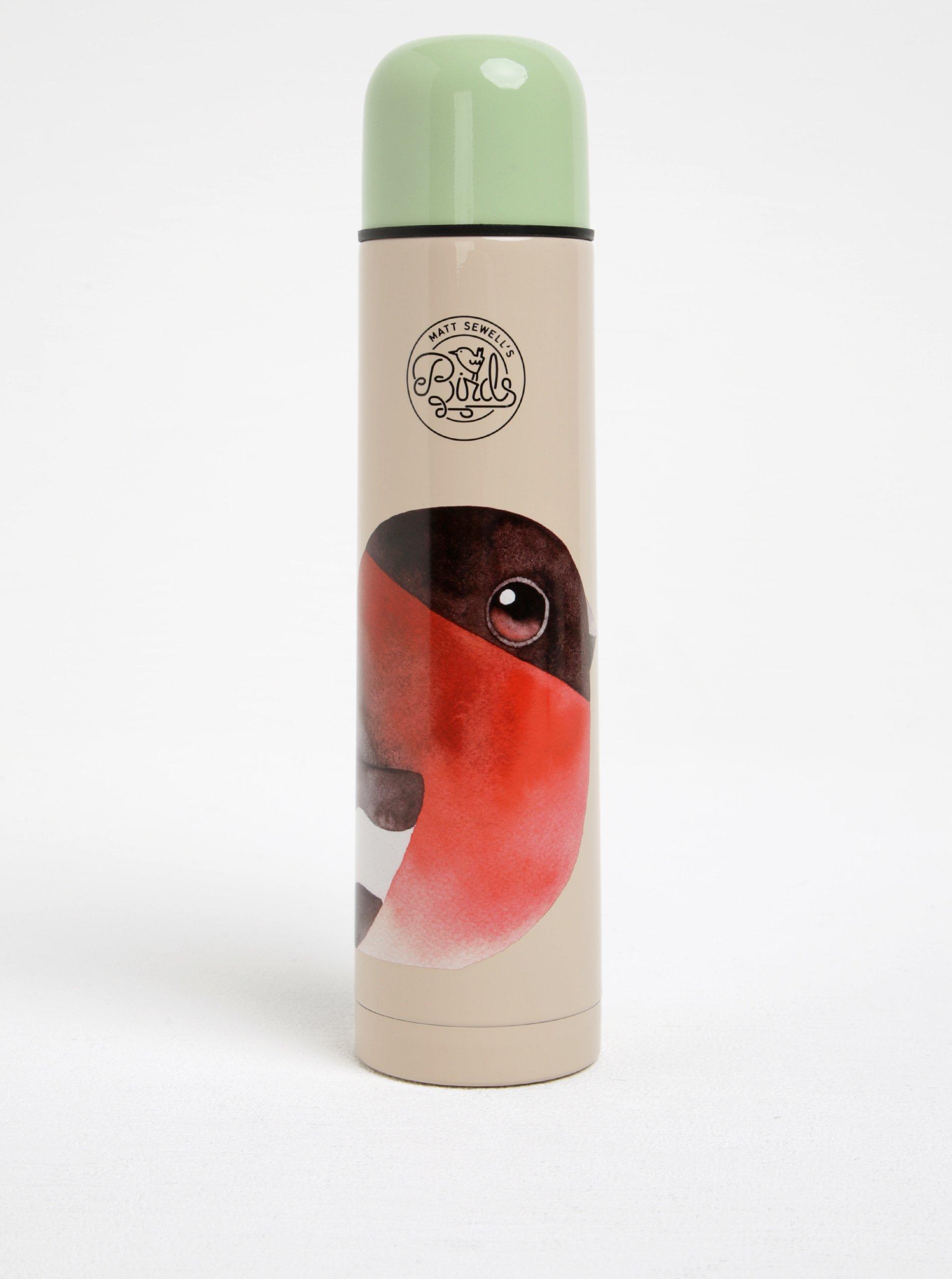 Zeleno-kréová termoska s motívom vtáčika Gift Republic