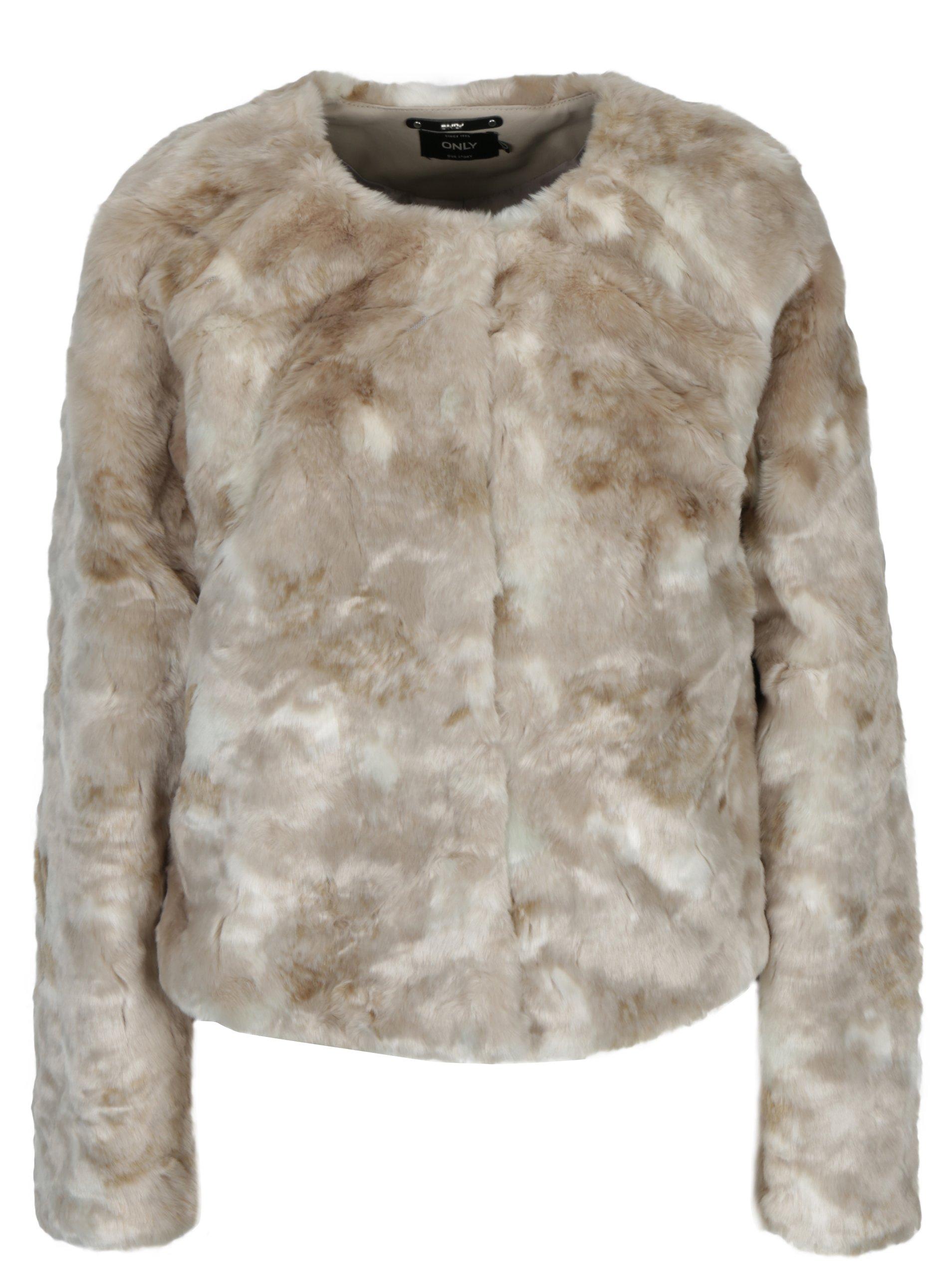 Béžový krátký kabát z umělé kožešiny ONLY Winnie