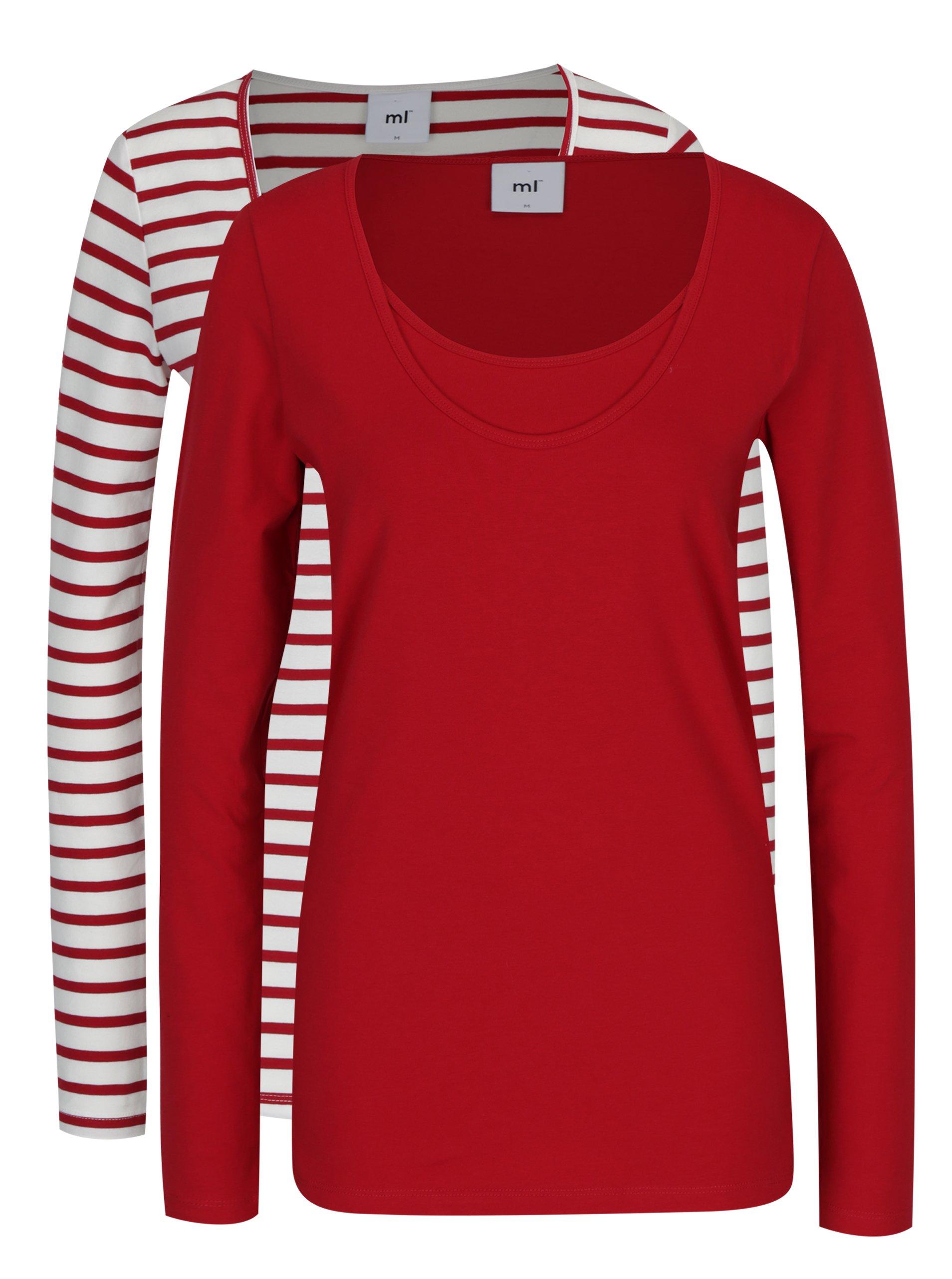 Sada dvou kojících triček v červené a bílé barvě Mama.licious Lea