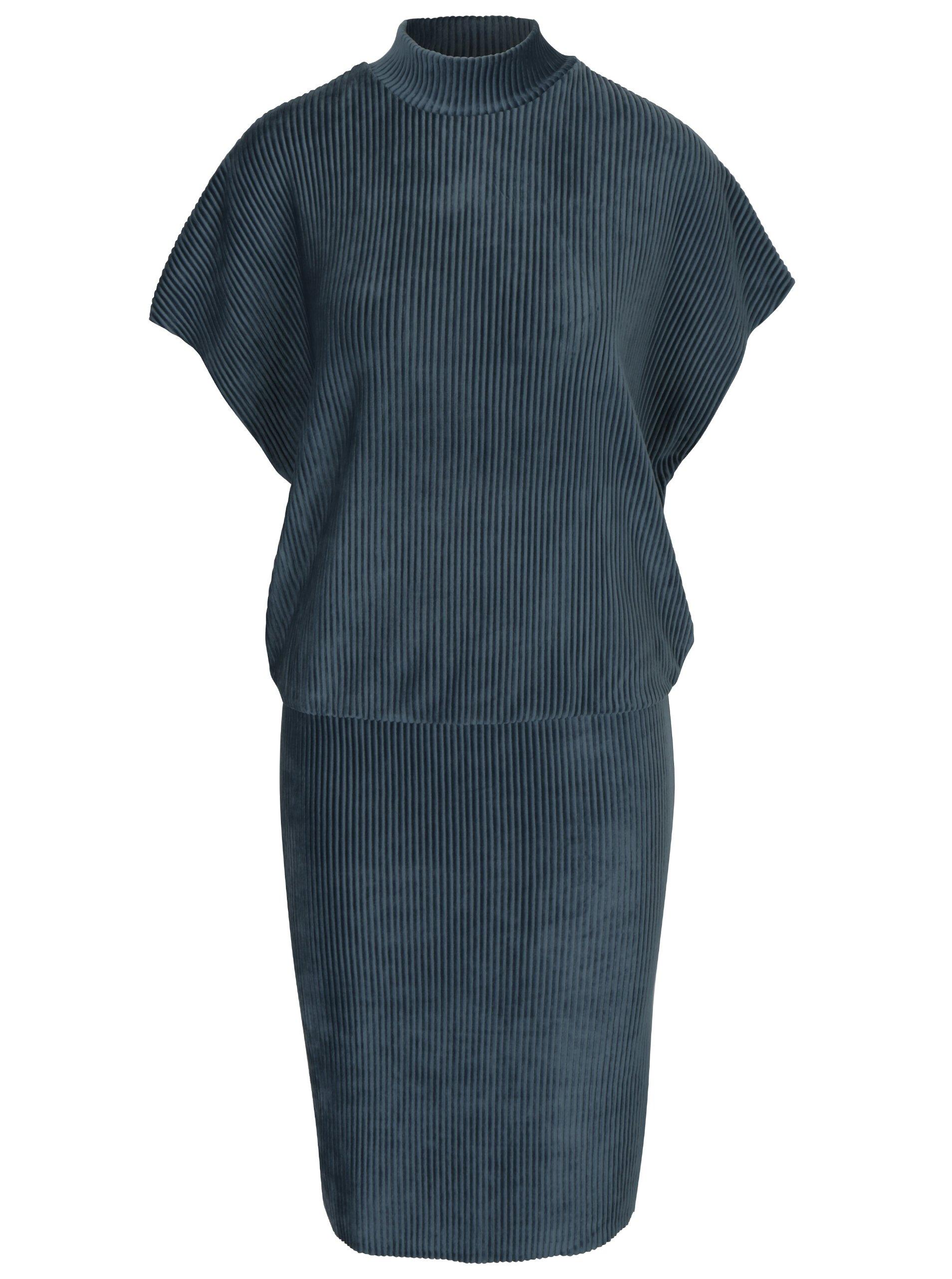Modré žebrované sametové šaty Selected Femme Velva