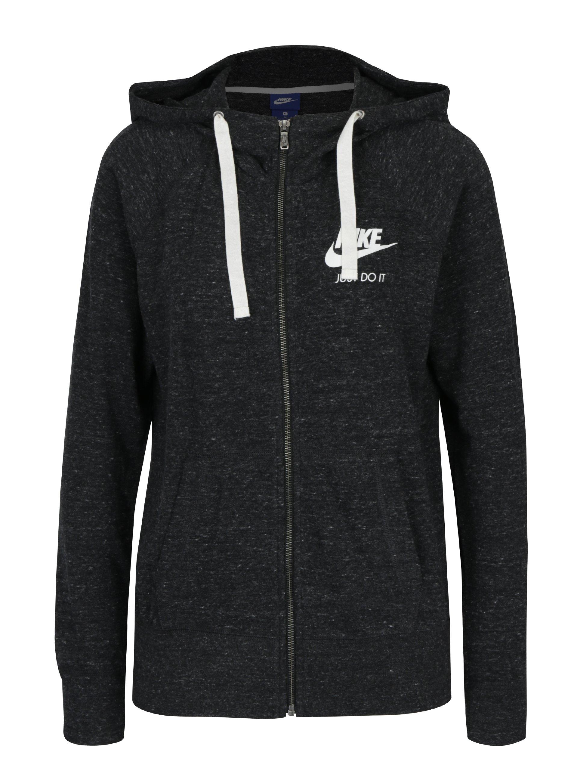 Černá dámská žíhaná mikina s kapucí Nike Sportswear Gym