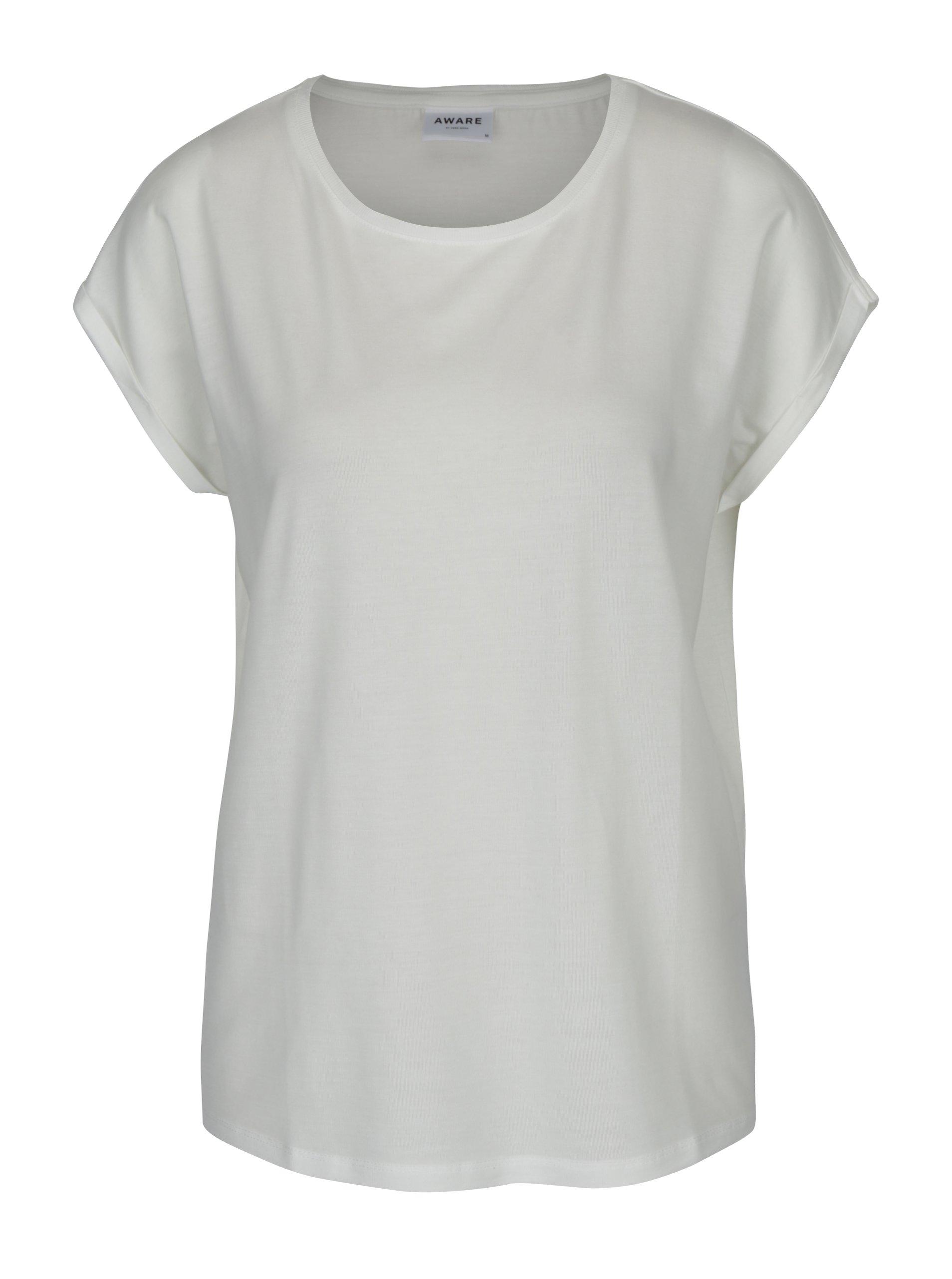 Fotografie Krémové dámské basic tričko s krátkým rukávem AWARE by VERO MODA Ava