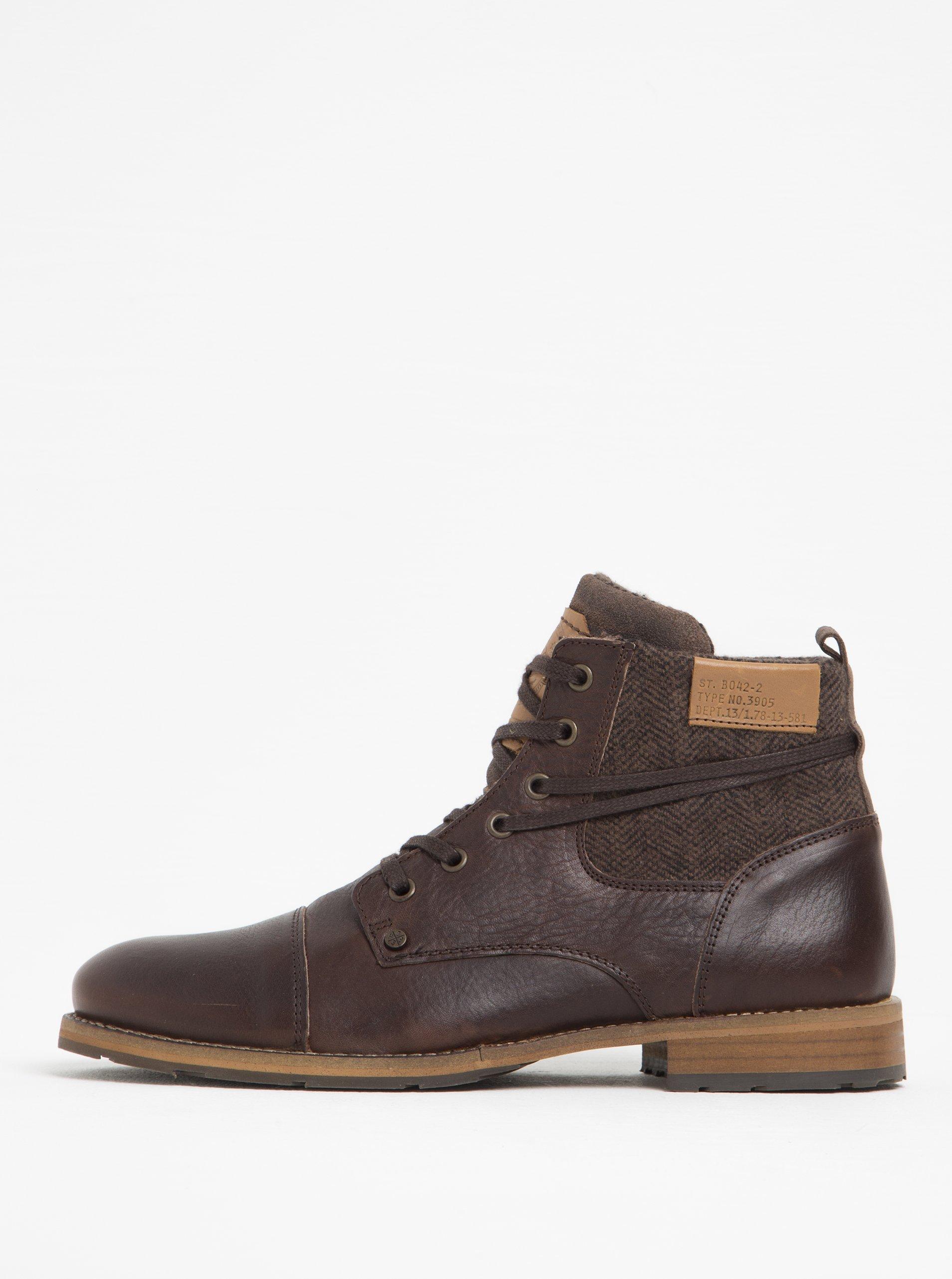 Hnědé pánské kožené kotníkové boty s textilní vsadkou Bullboxer