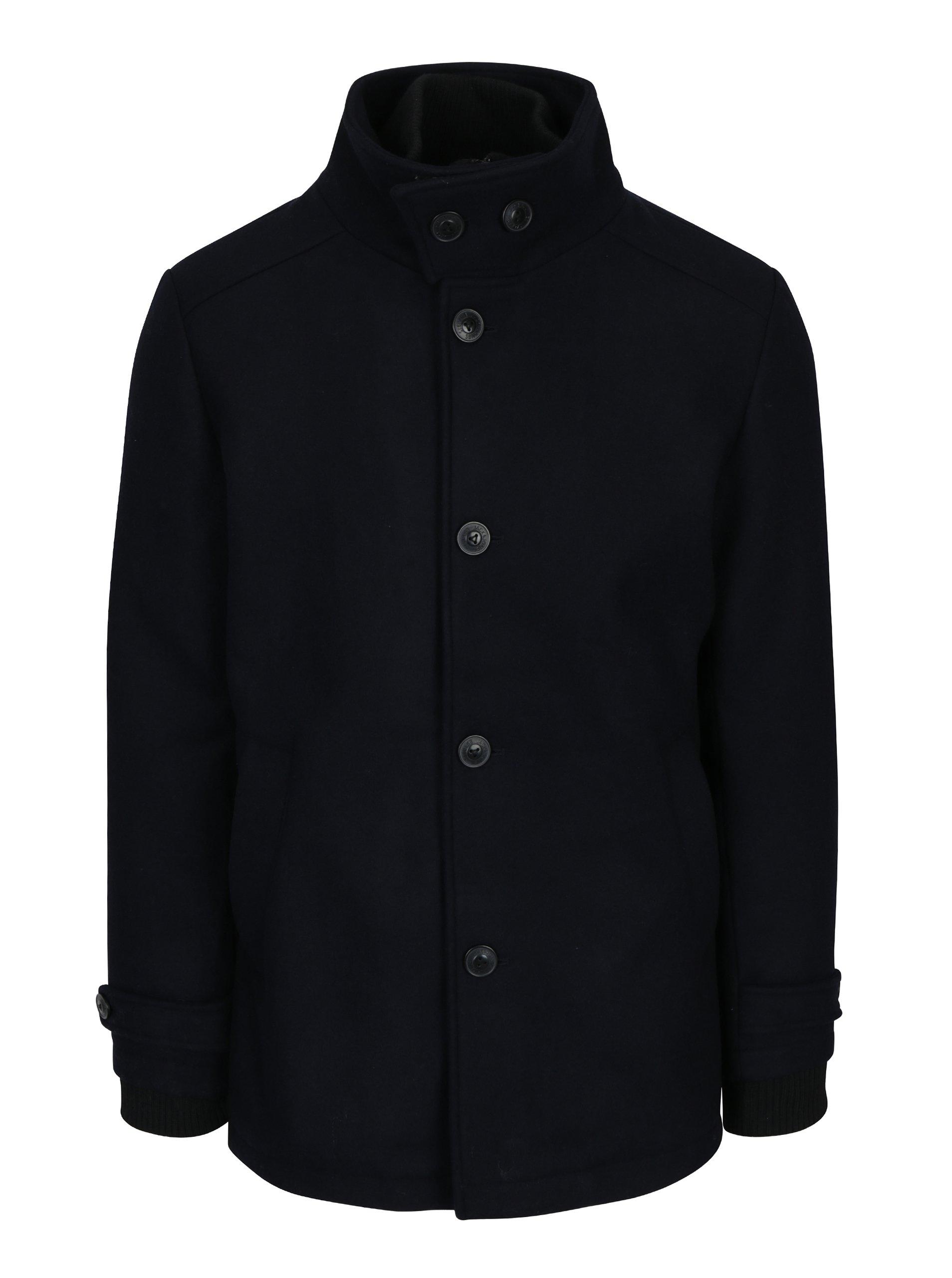 Tmavě modrý vlněný kabát Jack & Jones Joe