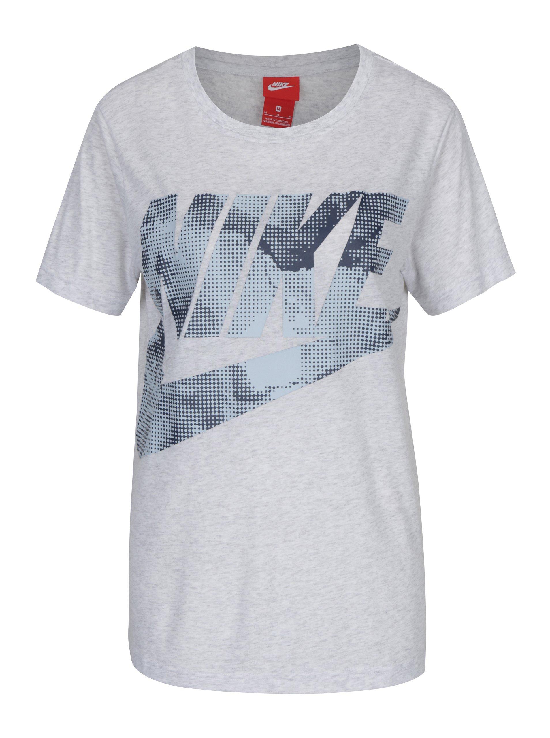 Šedé dámské tričko s potiskem Nike Sportswear Glacier