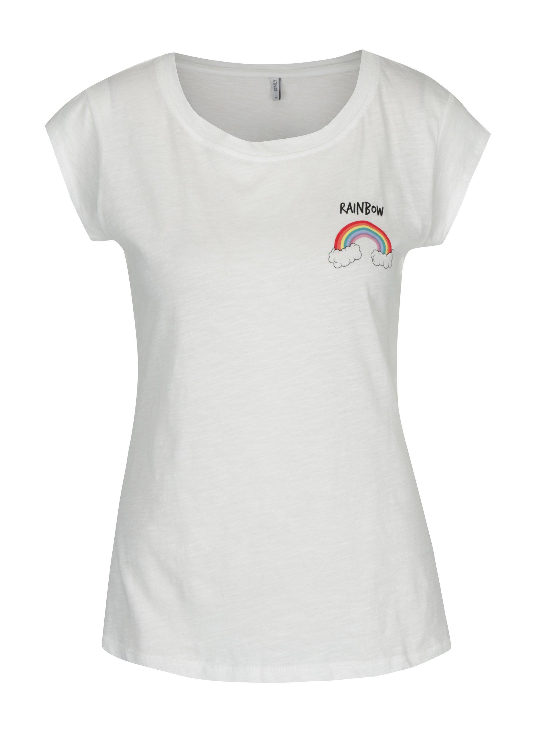 Krémové tričko s krátkým rukávem a potiskem ONLY Bone Rainbow