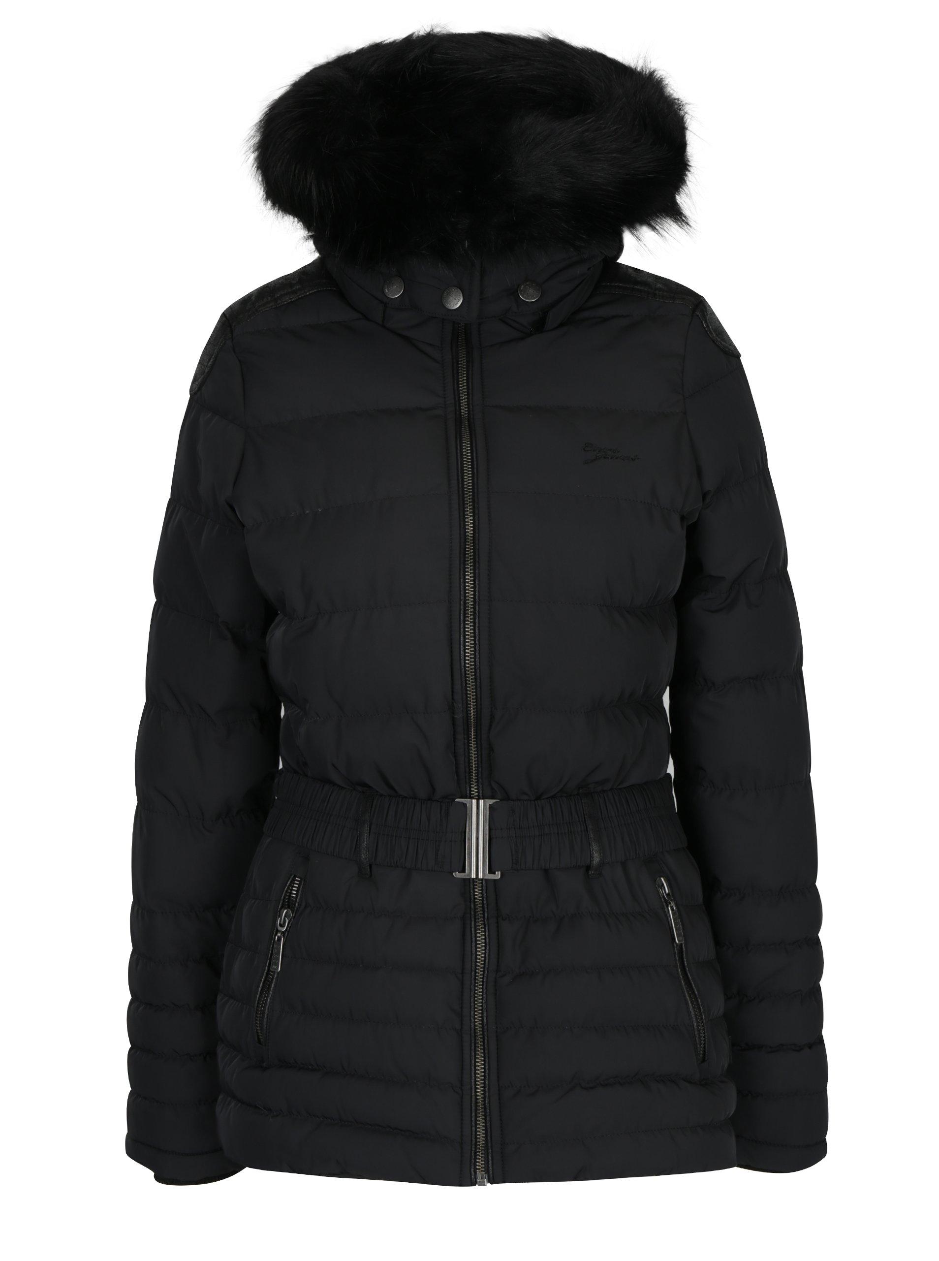 Černý dámský krátký prošívaný kabát s kapucí a páskem Cars Cler