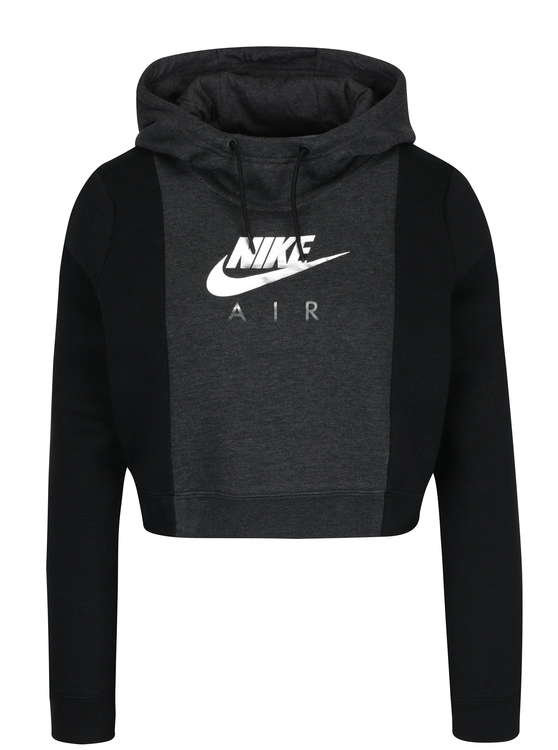Čierno-sivá dámska crop mikina s potlačou Nike Sportswear Rally
