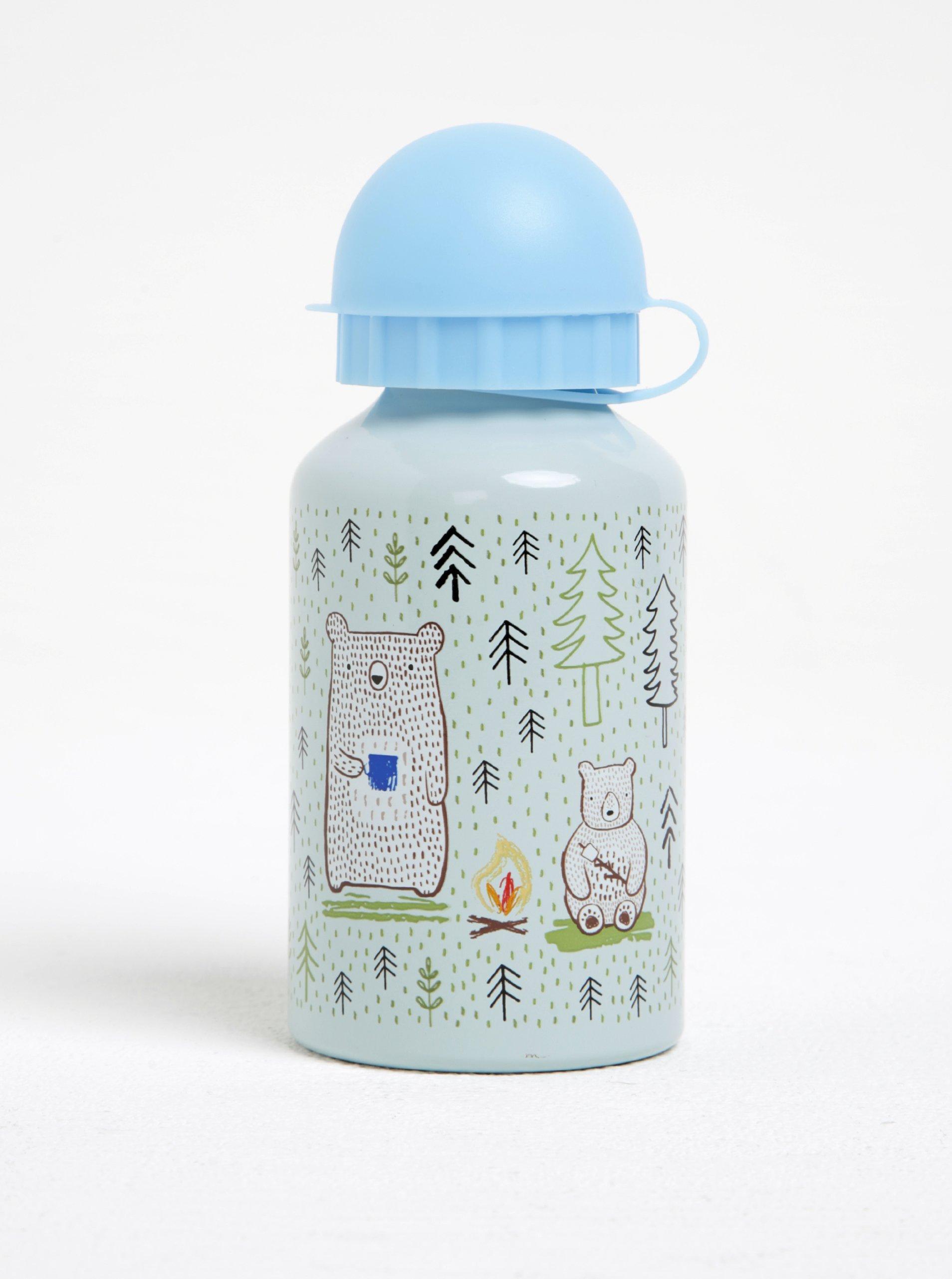 Modro-šedá láhev s medvědem Sass & Belle Bear Camp