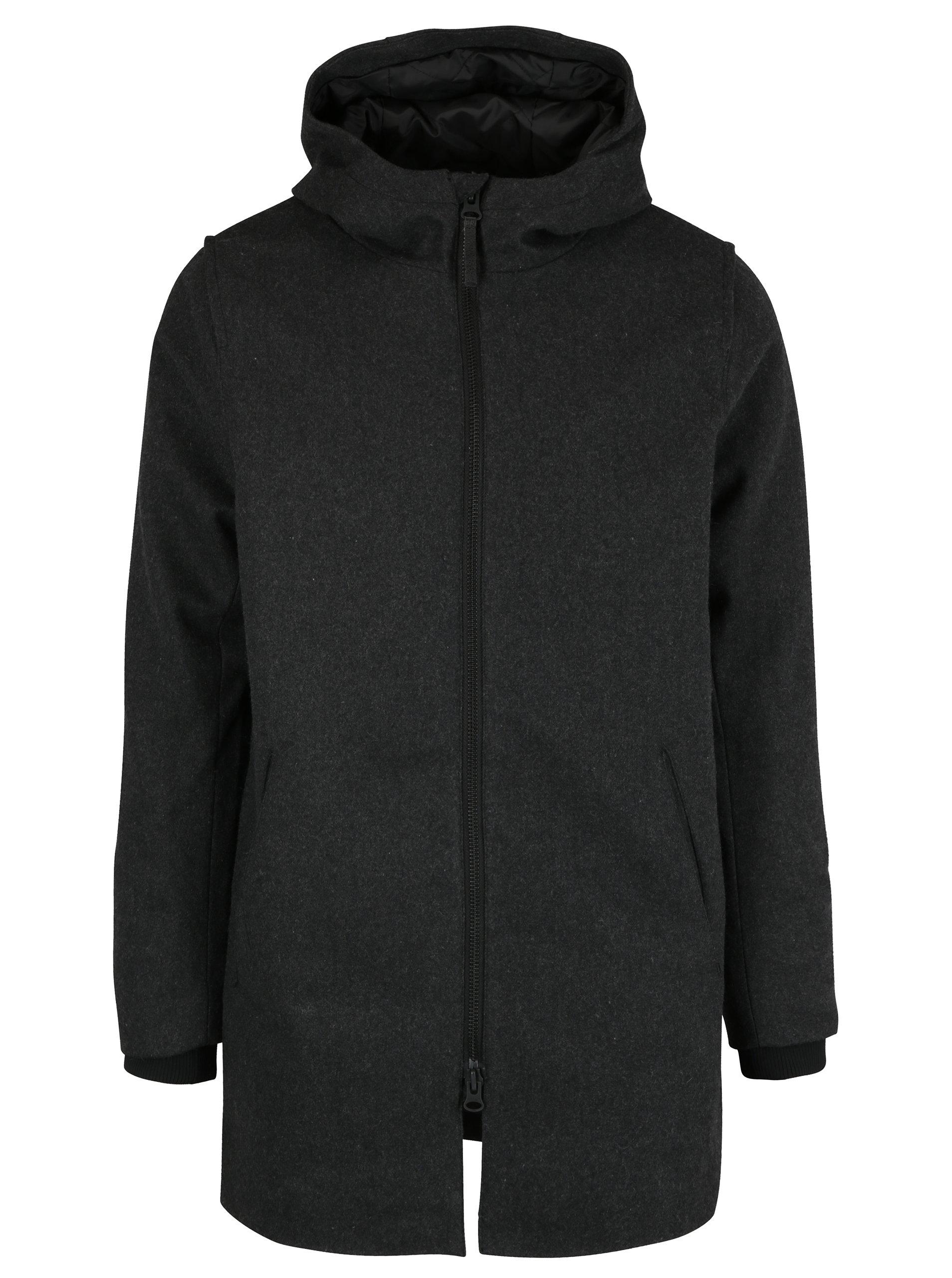 Sivý pánsky vlnený kabát RVLT