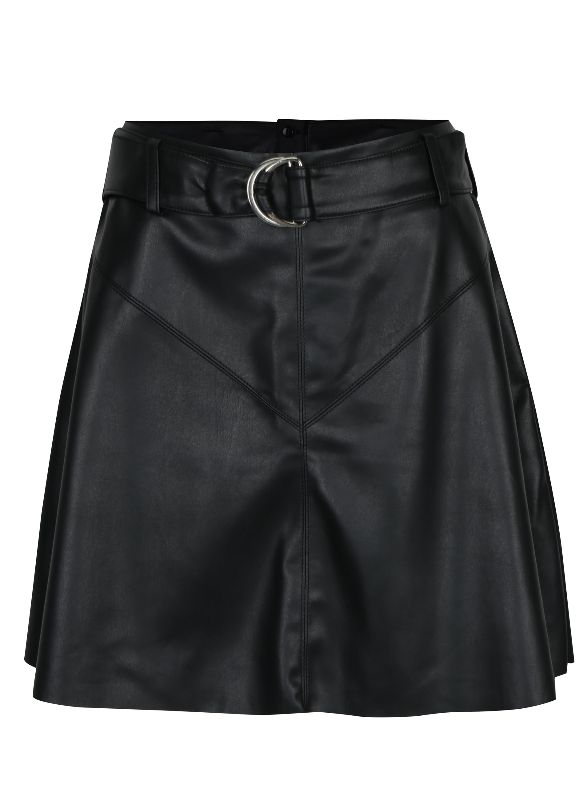 Černá koženková sukně s páskem VERO MODA Loa