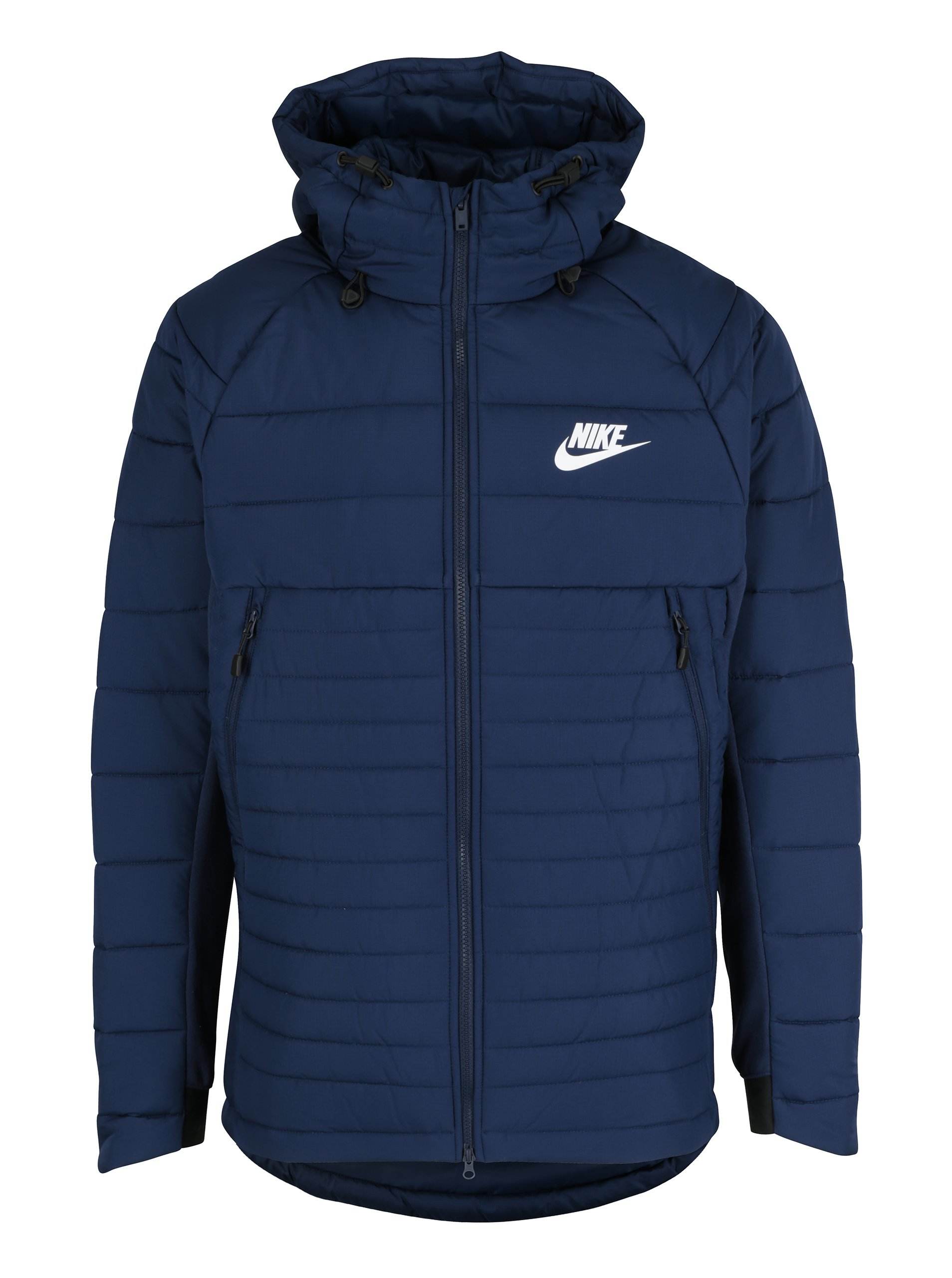 Tmavě modrá pánská zimní prošívaná bunda s kapucí Nike Sportswear Fill