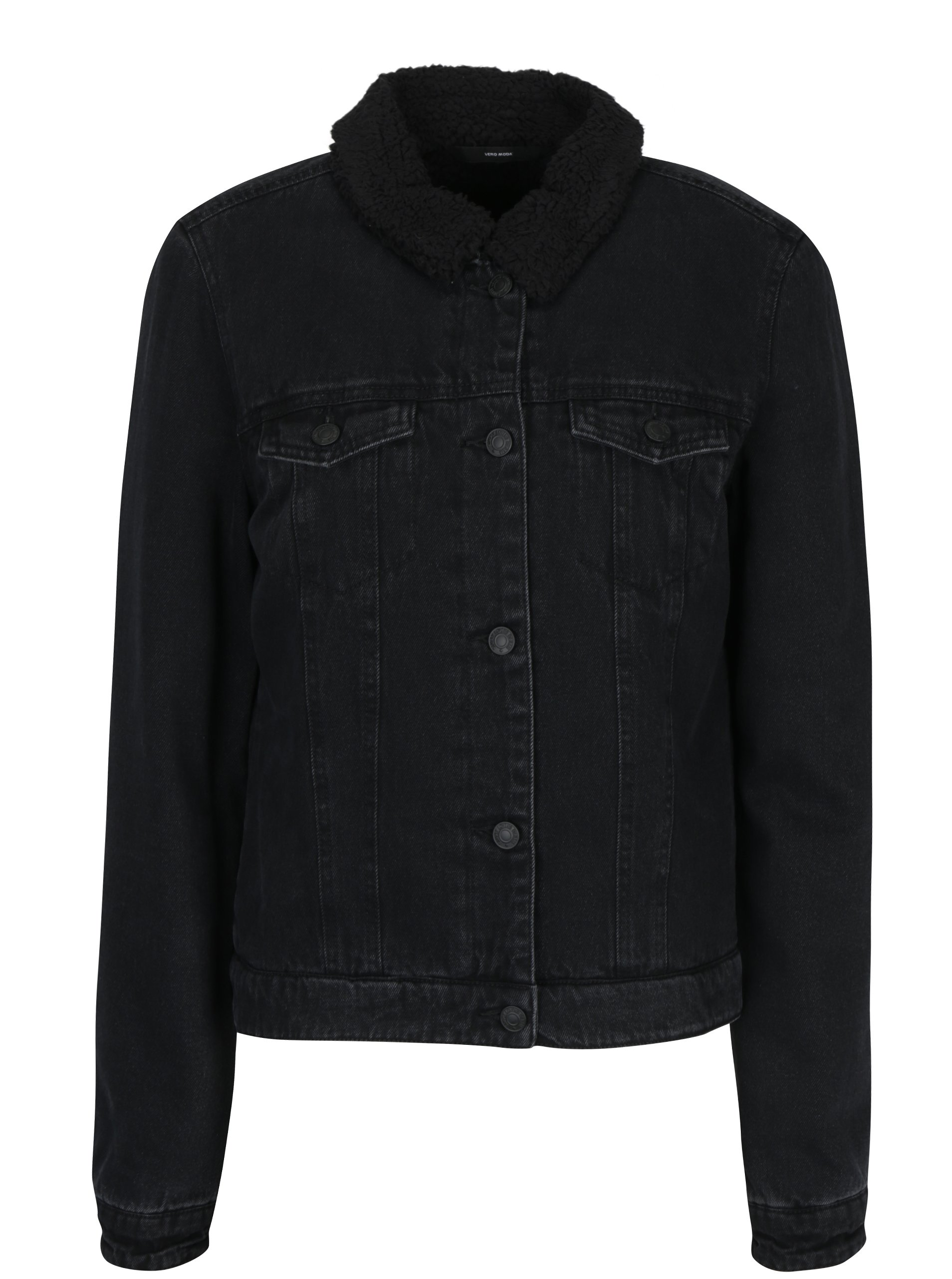 Černá džínová bunda s umělým kožíškem VERO MODA Tine