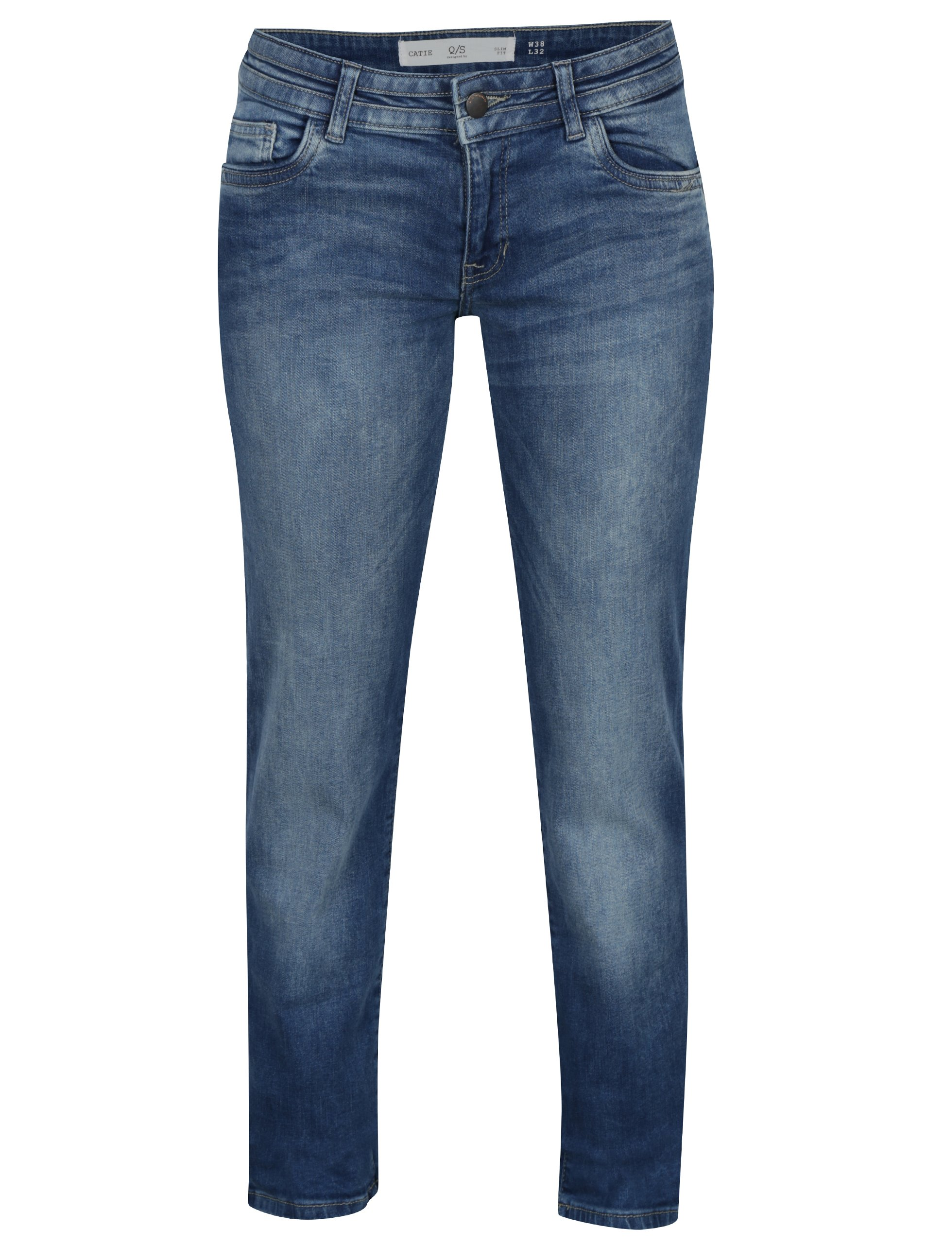 Modré dámské slim fit džíny s vyšisovaným efektem s.Oliver