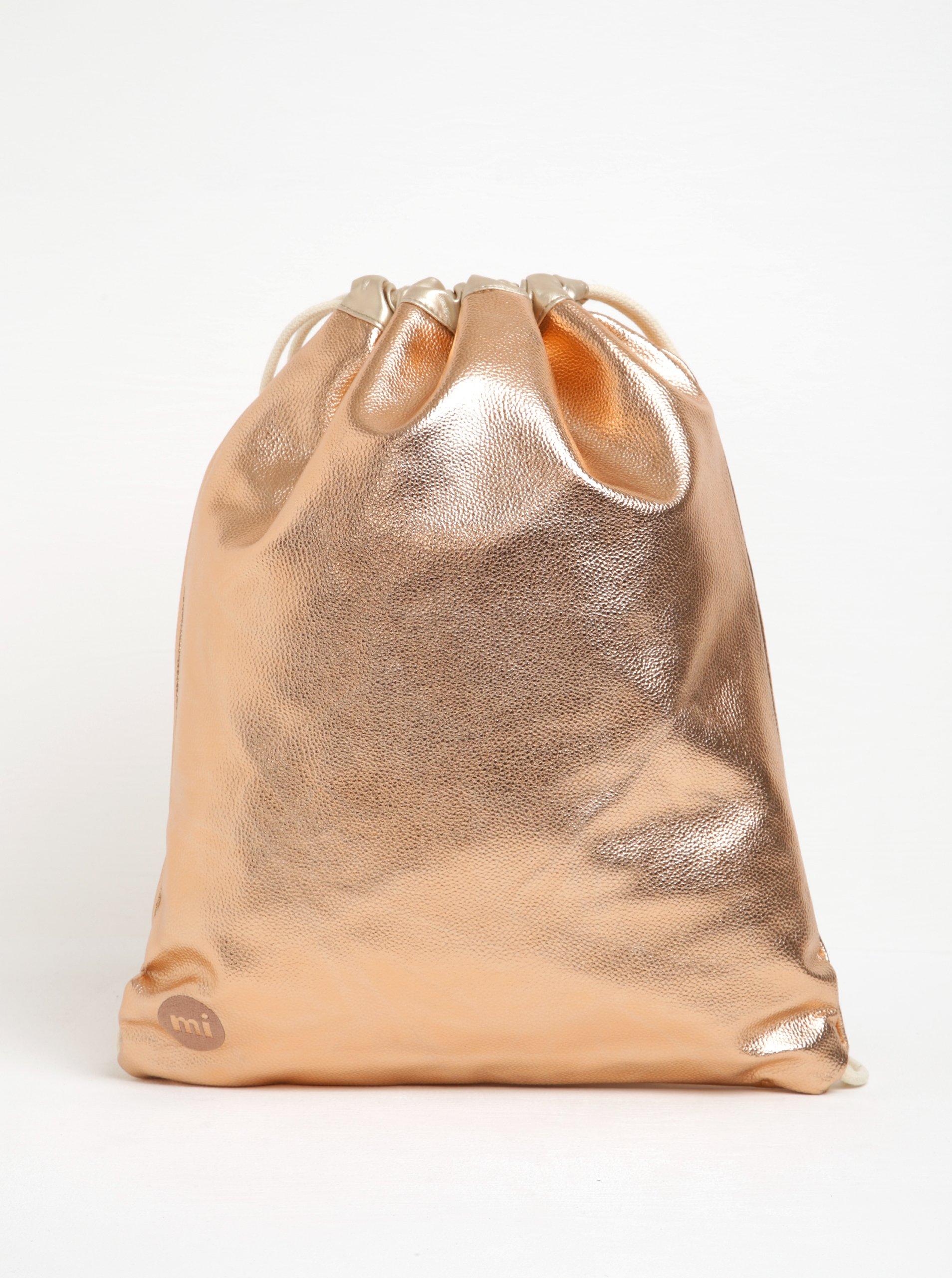 Lesklý dámský vak v růžovozlaté barvě Mi-Pac Kit Bag Metallic
