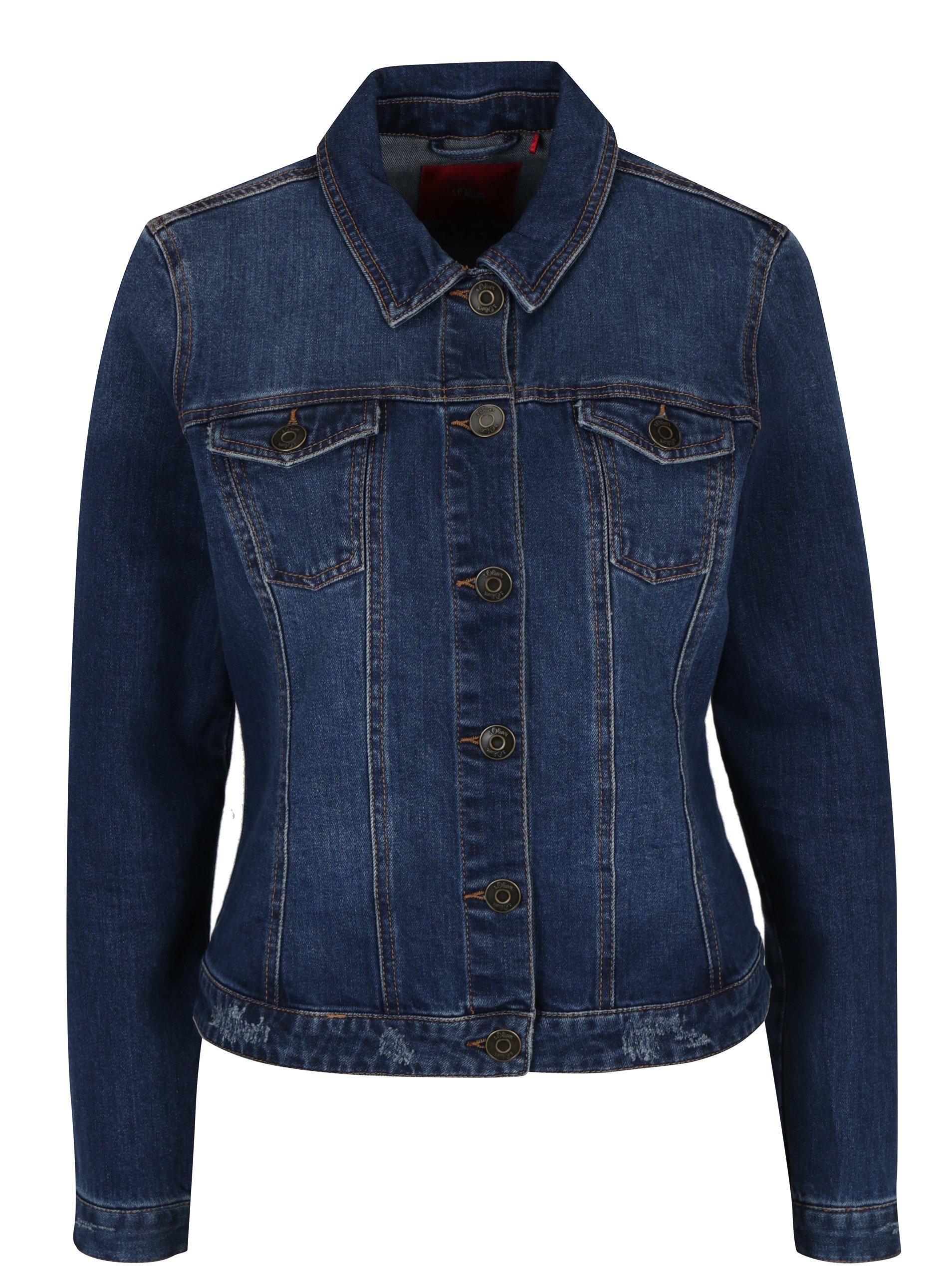 Tmavě modrá dámská džínová bunda s kapsami s.Oliver