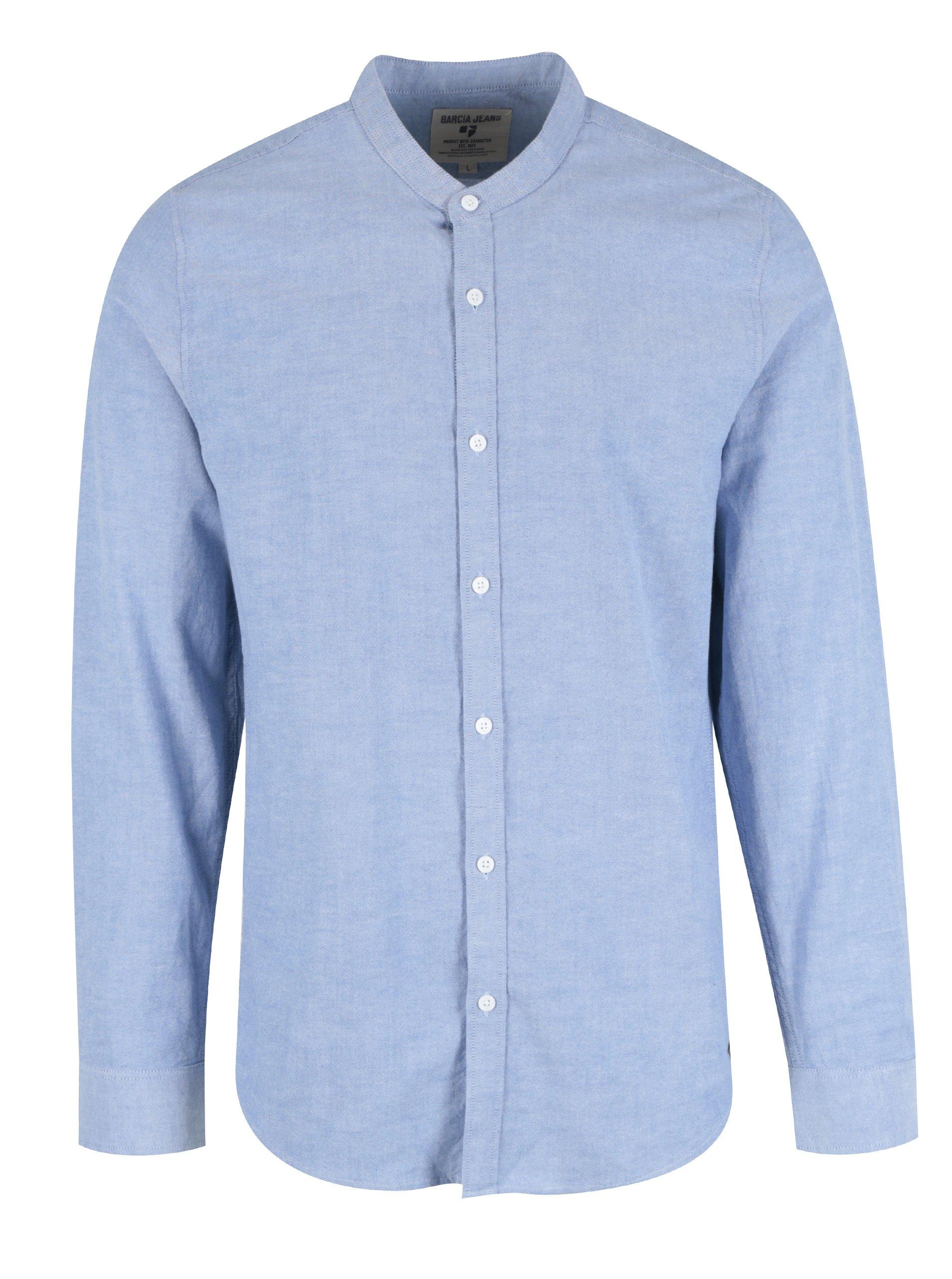 284a20807085 Svetlomodrá pánska neformálna košeľa bez goliera Garcia Jeans