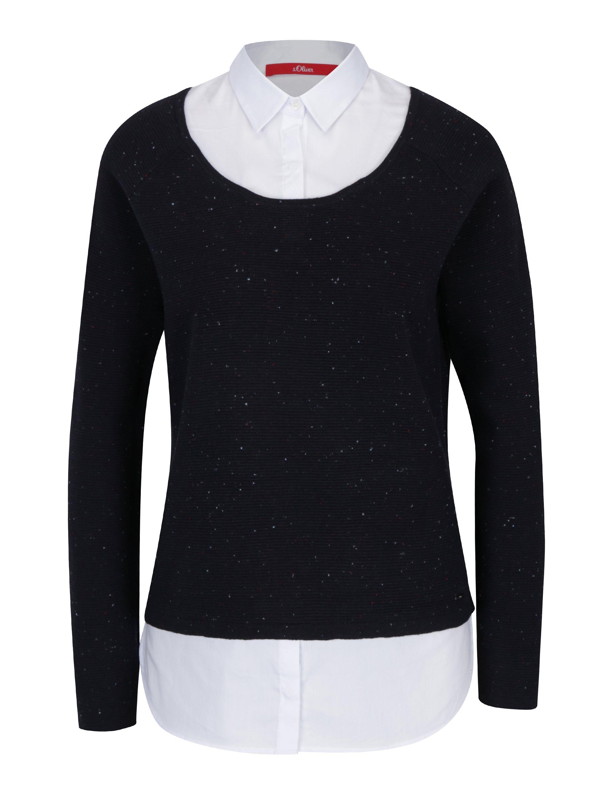 Tmavě modrý dámský žíhaný svetr s všitou košilí 2v1 s.Oliver