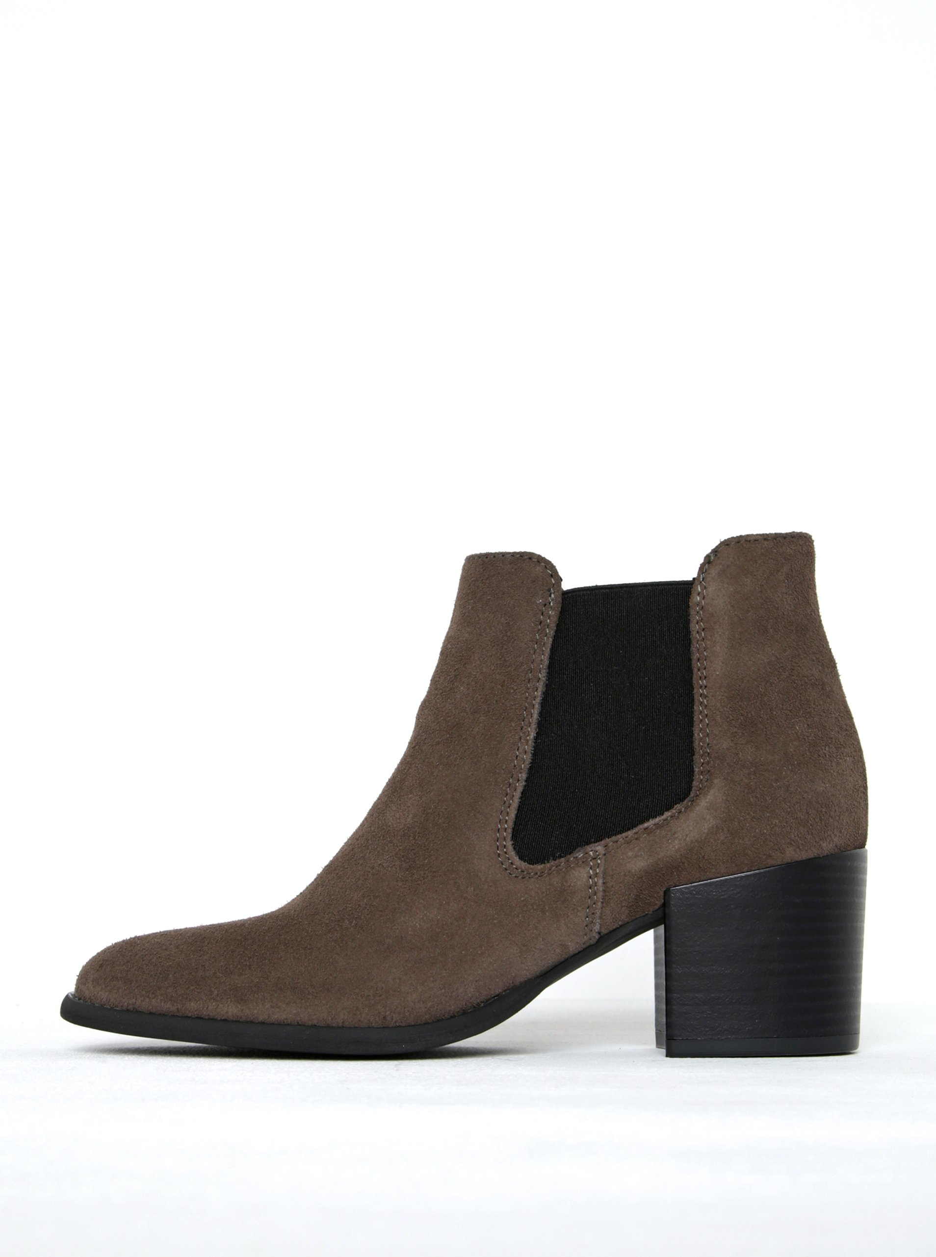 Hnědé semišové chelsea boty na podpatku Tamaris