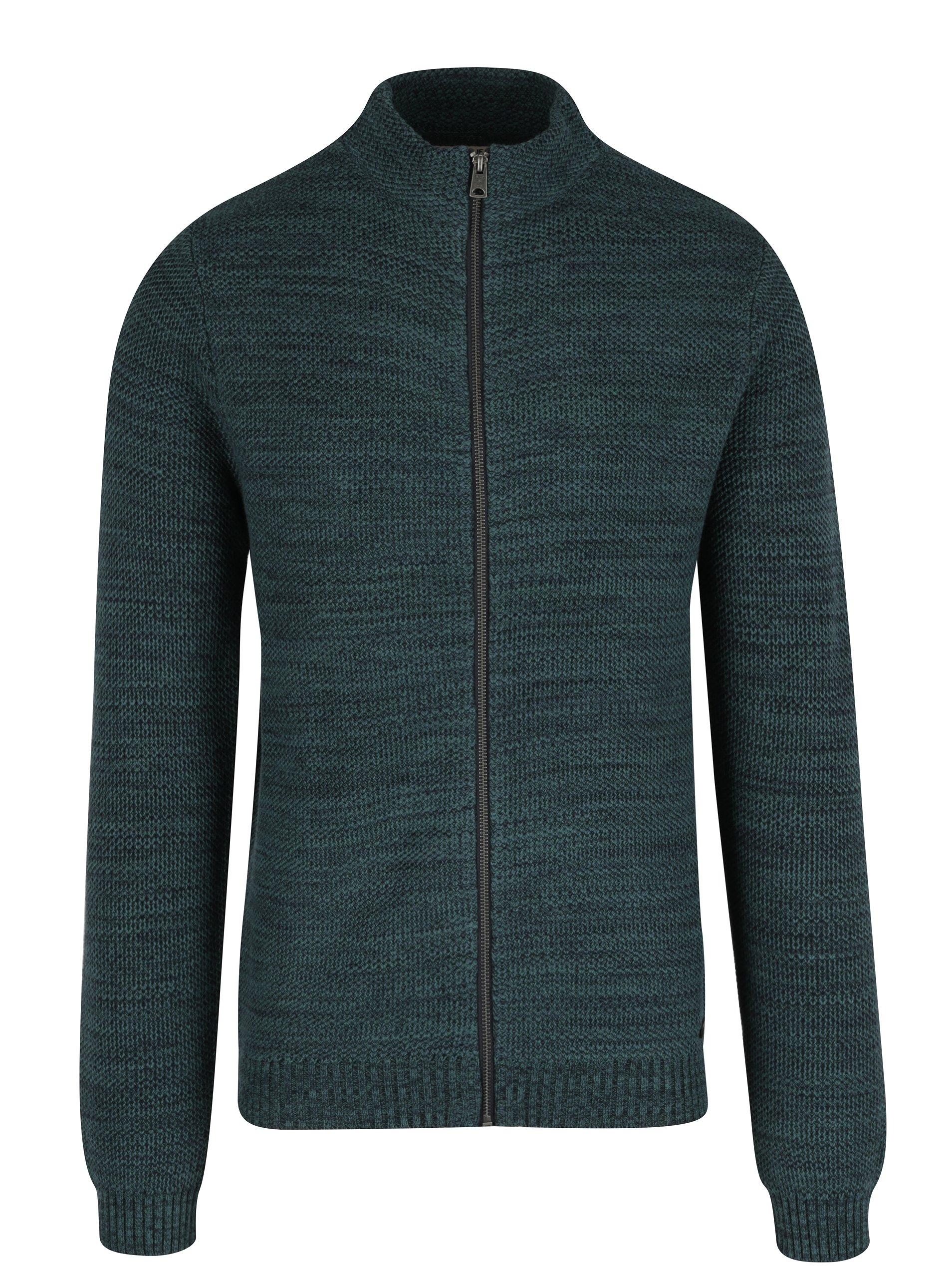 Tmavě zelený pánský cardigan na zip Garcia Jeans
