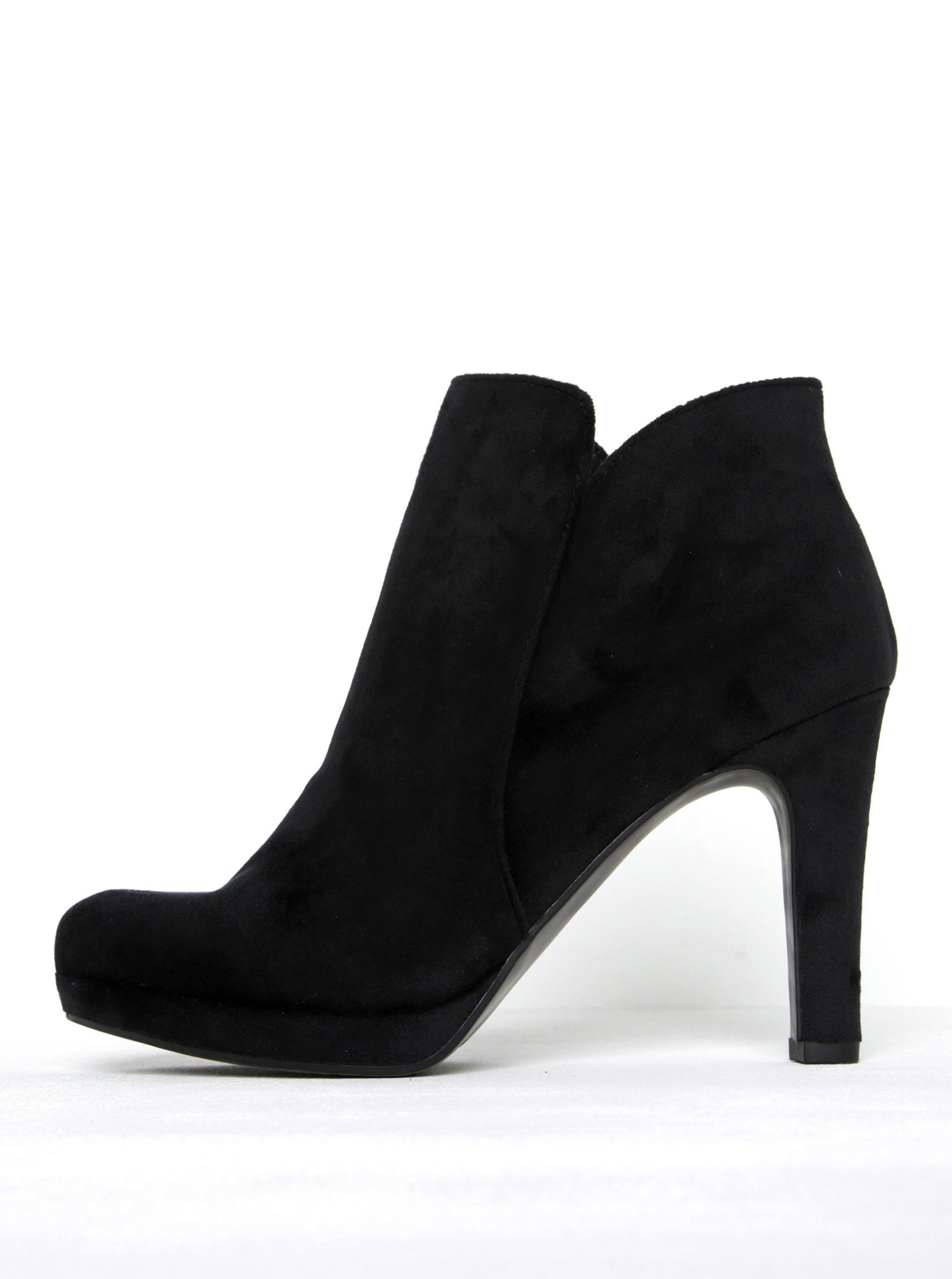 ?ern� sametov� kotn�kov� boty na podpatku Tamaris