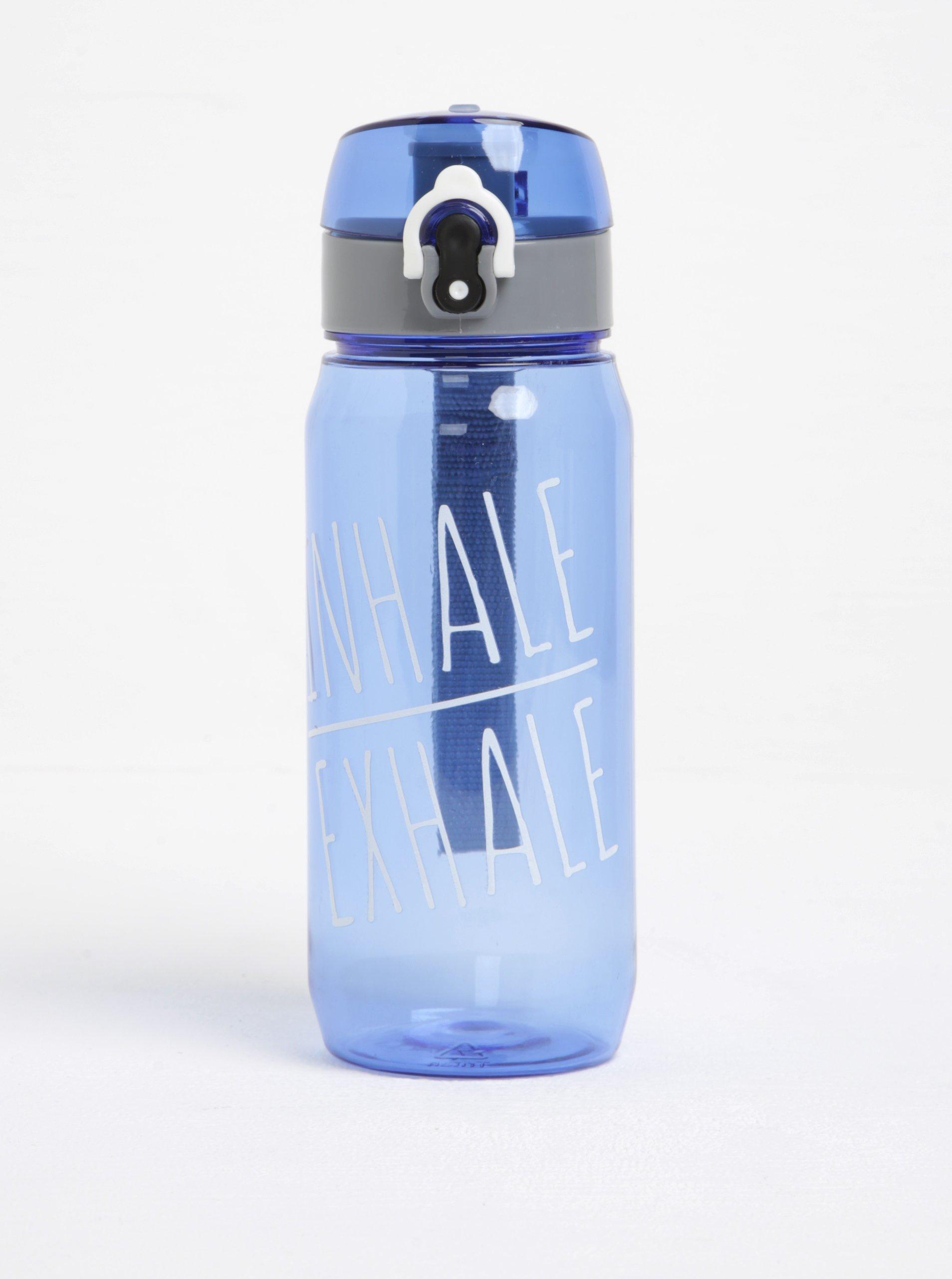 Modrá láhev na vodu s uzamykacím systémem Loooqs Inhale Exhale (600 ml)