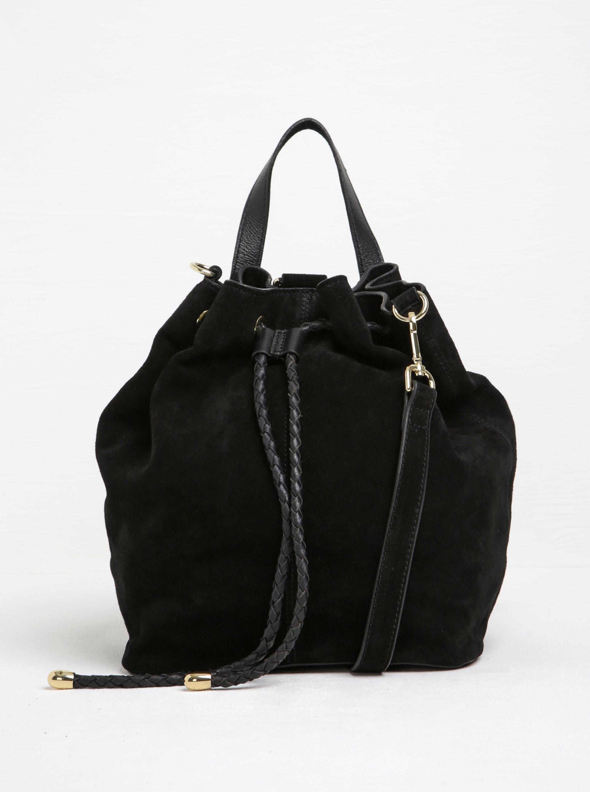 Černá semišová kabelka/vak s doplňky ve zlaté barvě Pieces Rissa