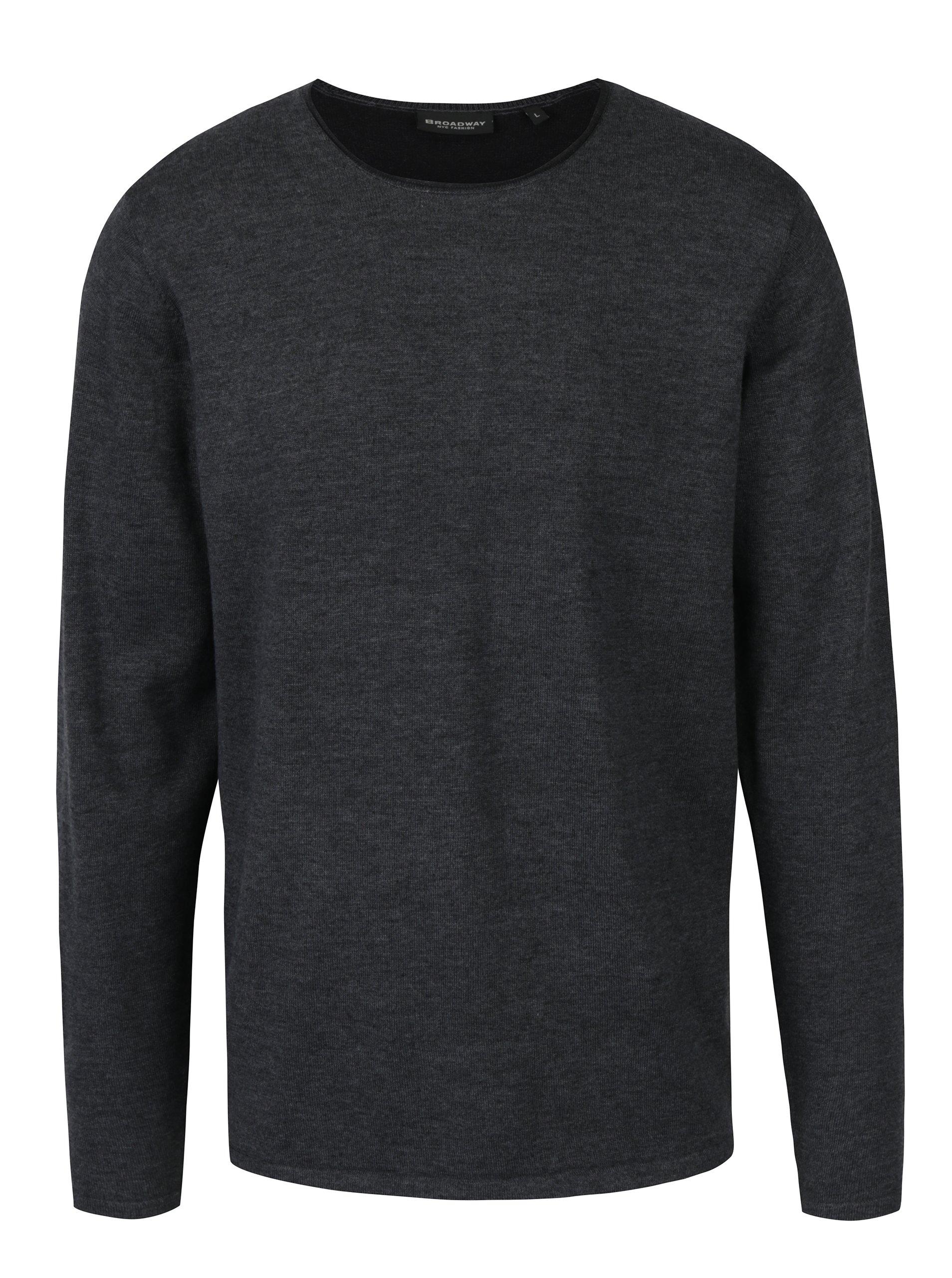 Tmavě šedý pánský lehký svetr Broadway Nicolaas