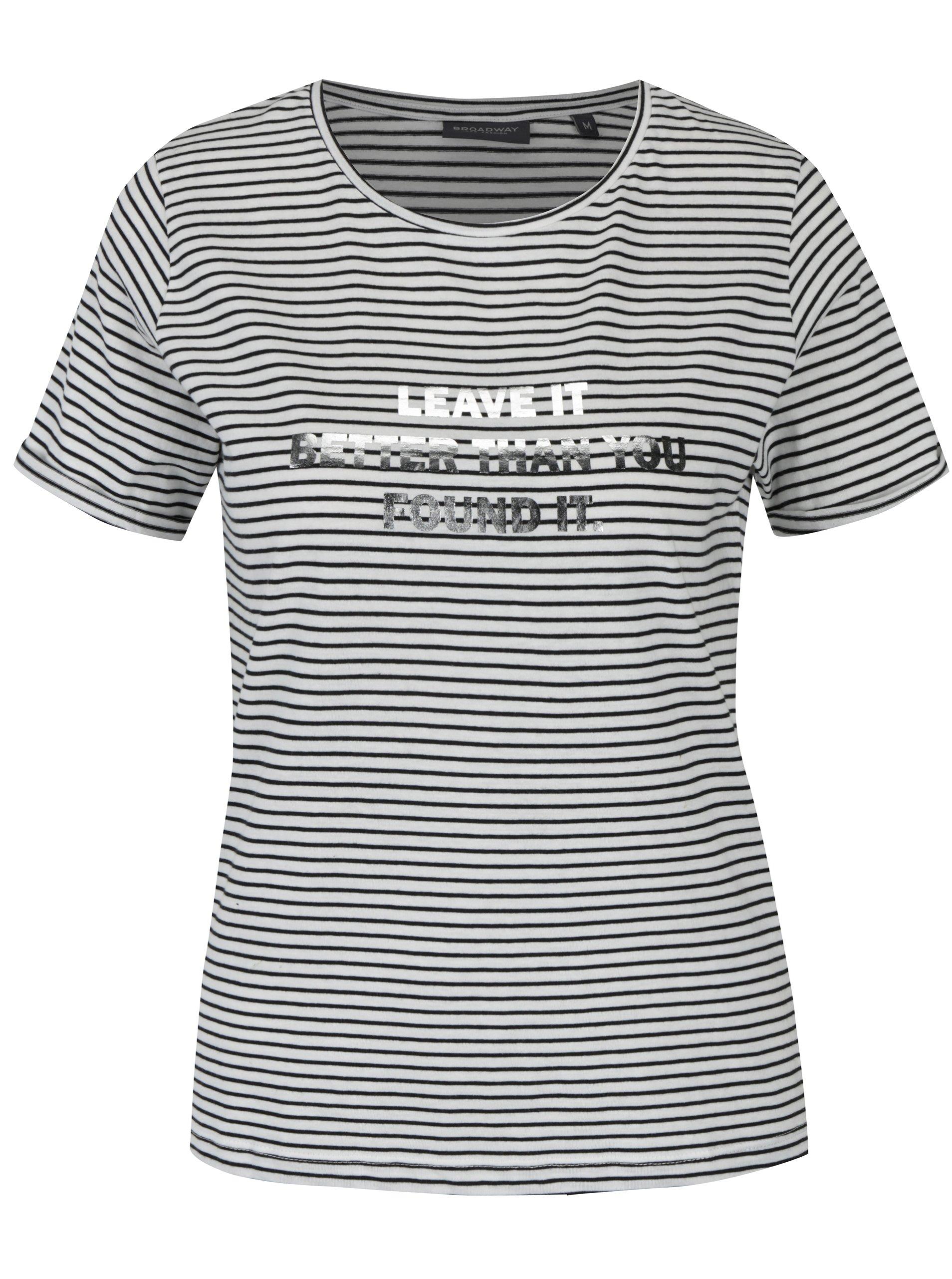 Bílé dámské pruhované tričko Broadway Maike