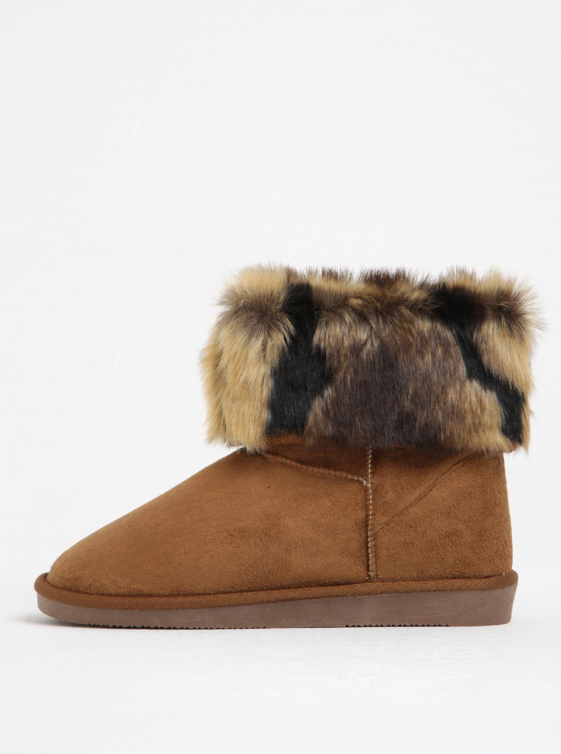 Hnědé zimní kotníkové boty v semišové úpravě Pieces Parrisa