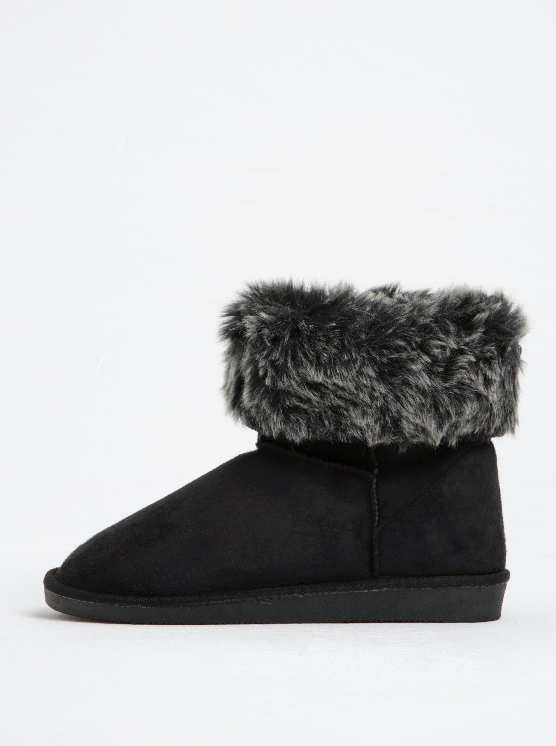 Černé zimní kotníkové boty v semišové úpravě Pieces Parrisa