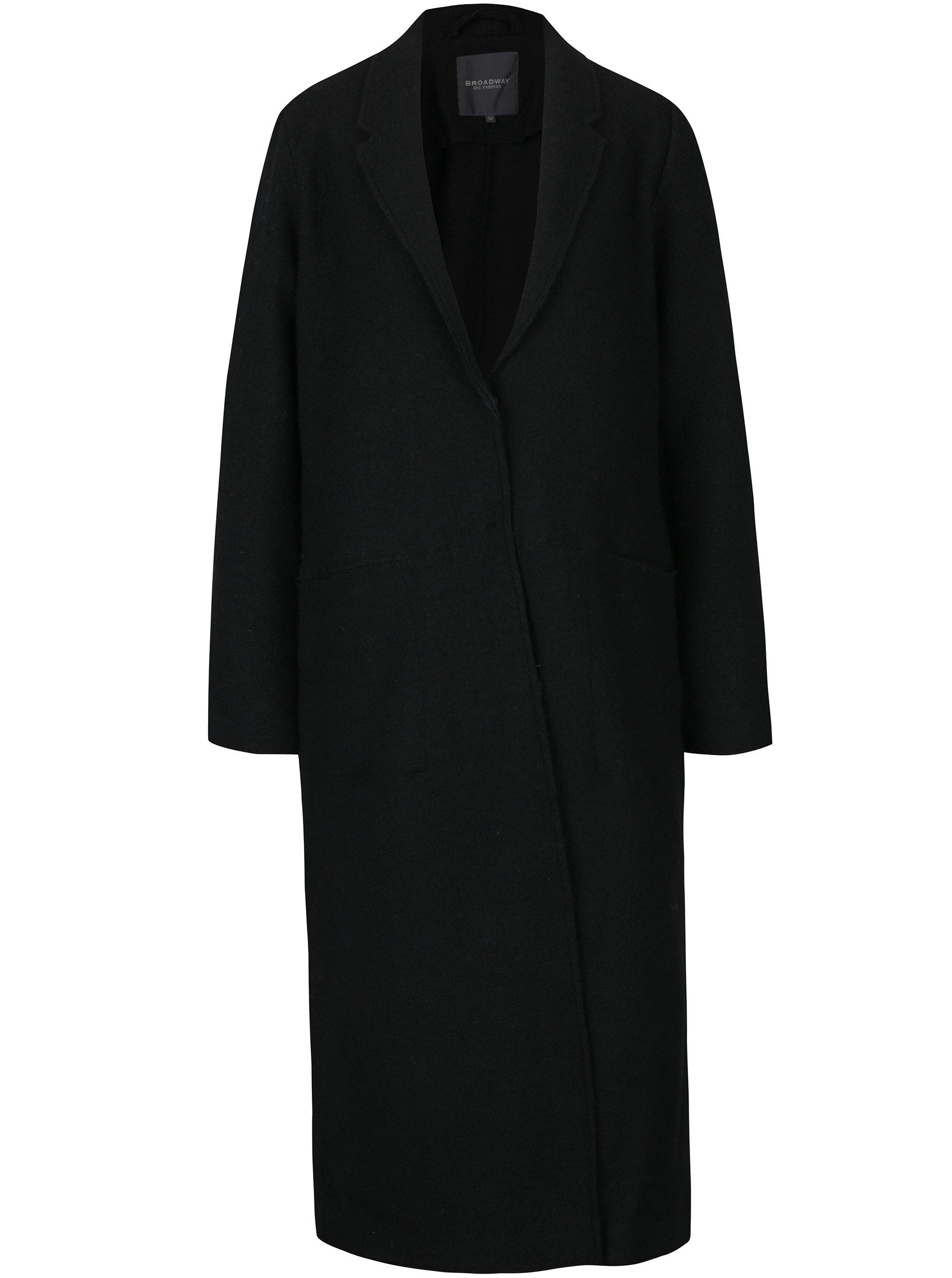 Černý dámský dlouhý vlněný kabát Broadway Malea