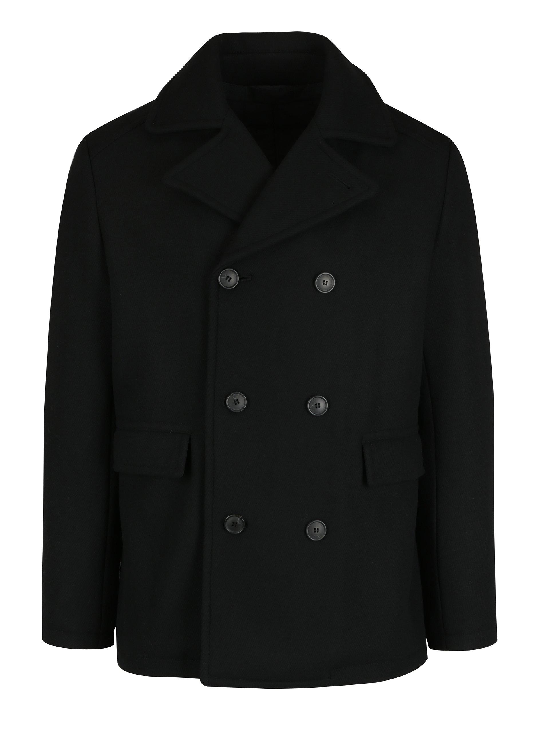 Černý krátký kabát s příměsí vlny Selected Homme Merce