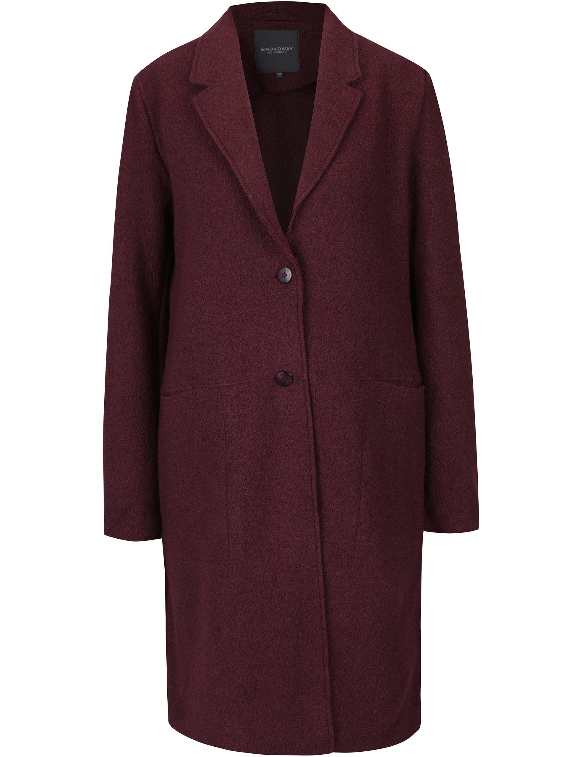 8b8449162e0a Vínový dámsky dlhý vlnený kabát Broadway Mardie