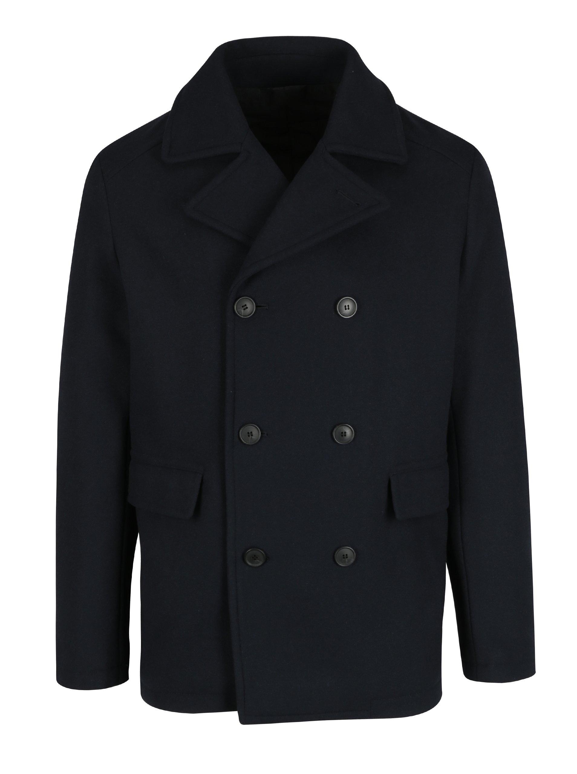 Tmavě modrý krátký kabát s příměsí vlny Selected Homme Merce