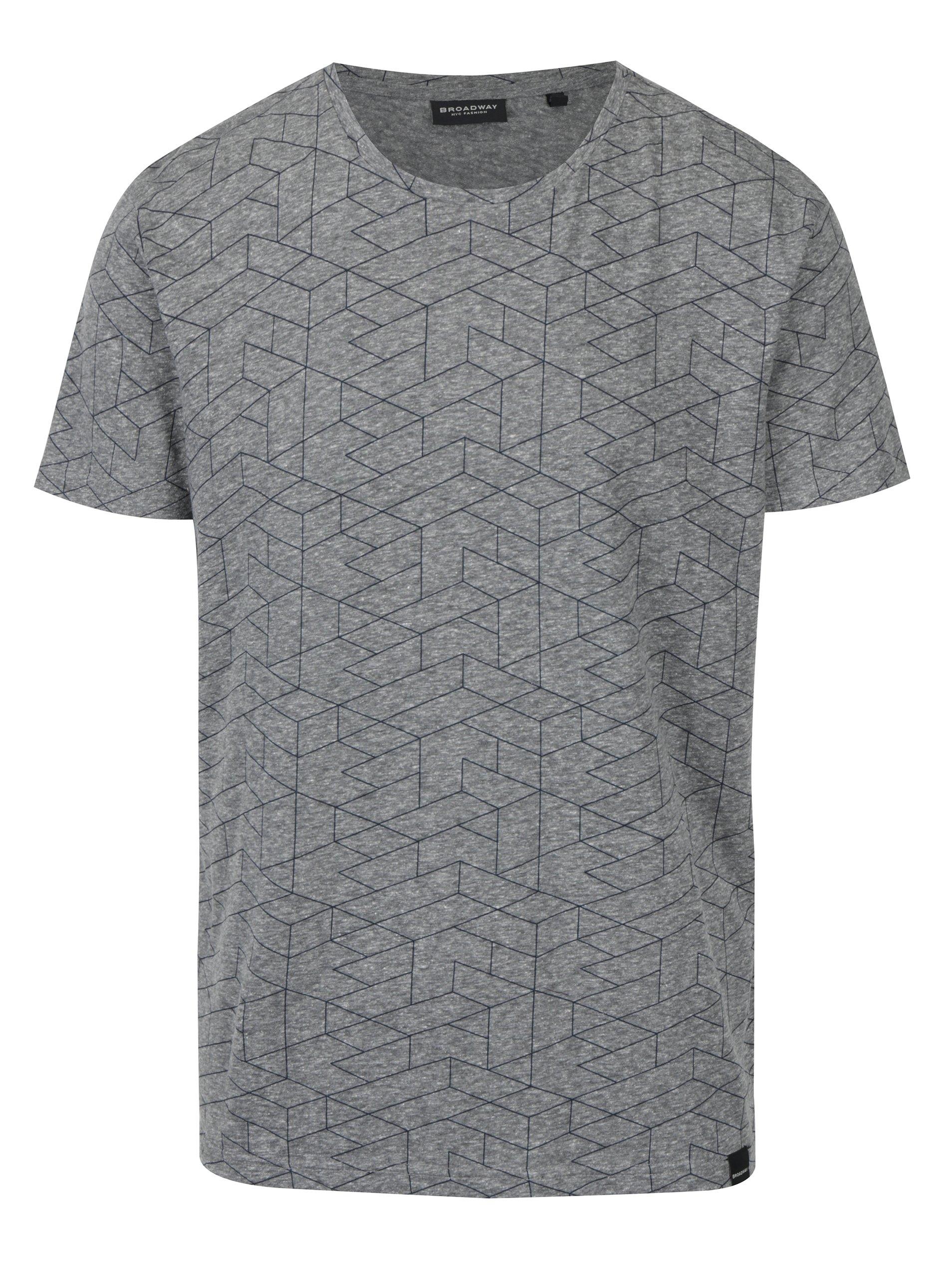 Šedé žíhané pánské tričko se potiskem Broadway Nello
