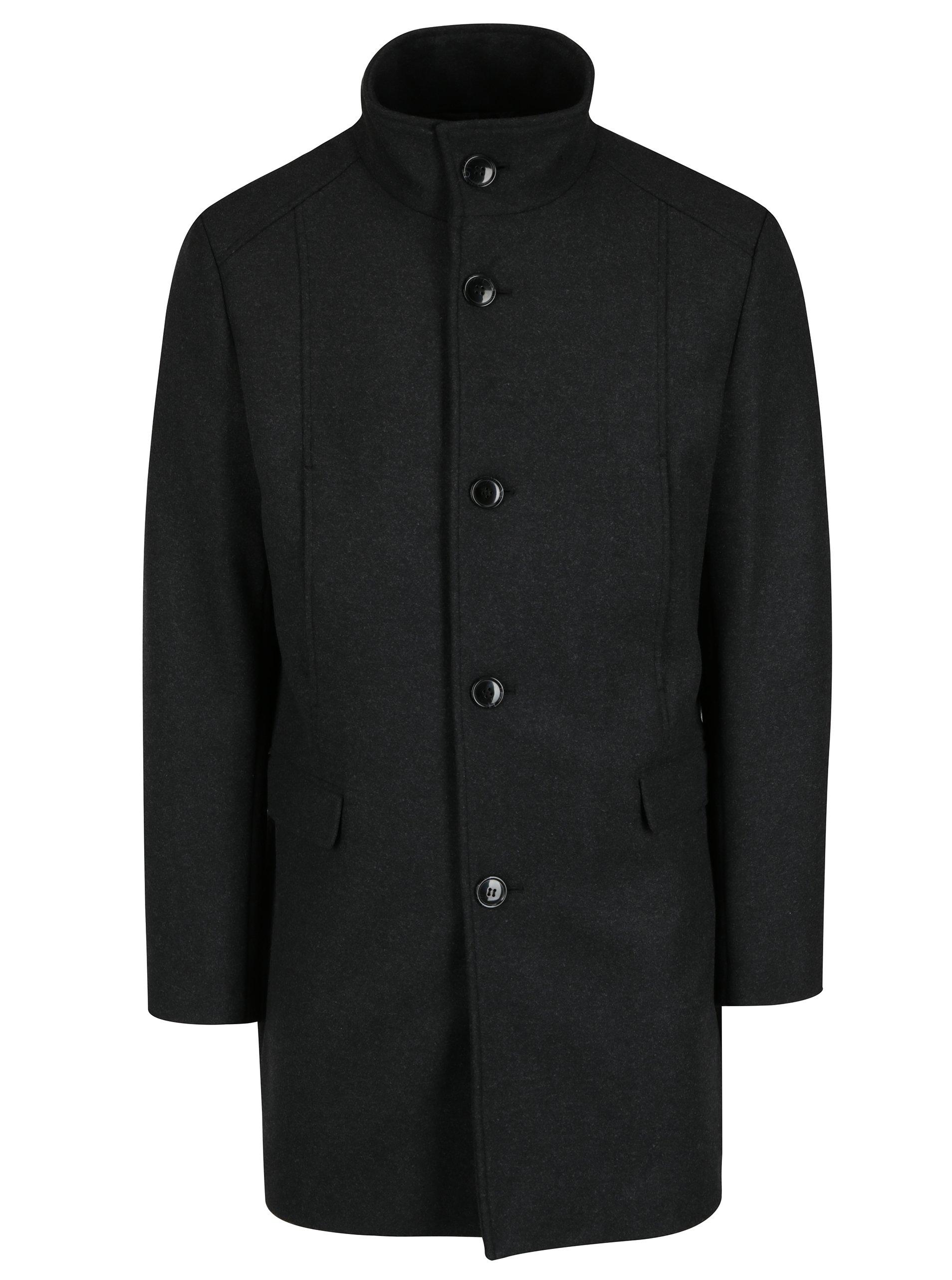 Tmavě šedý kabát s příměsí vlny Selected Homme Mosto