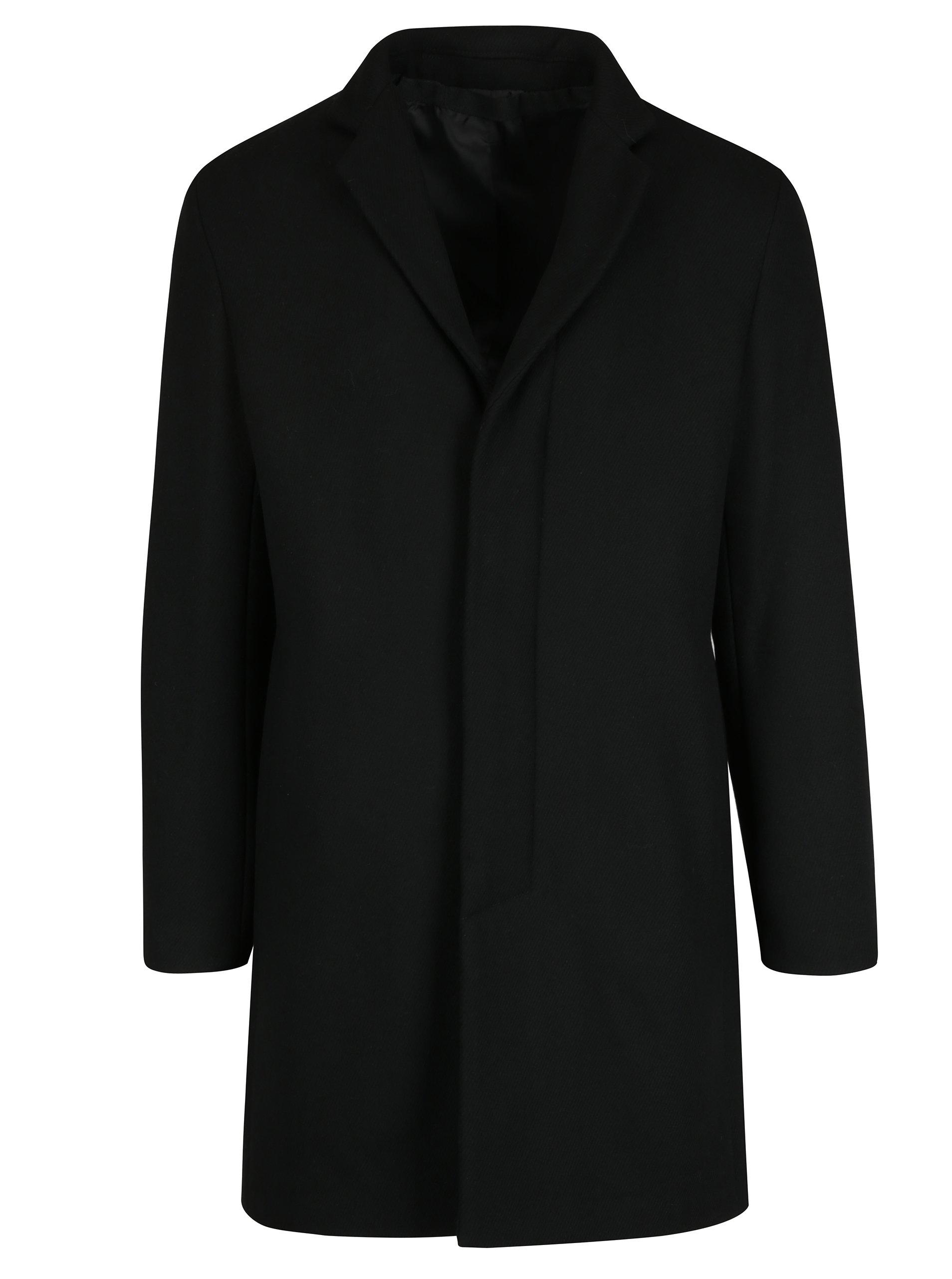 Černý kabát s příměsí vlny Selected Homme Brove